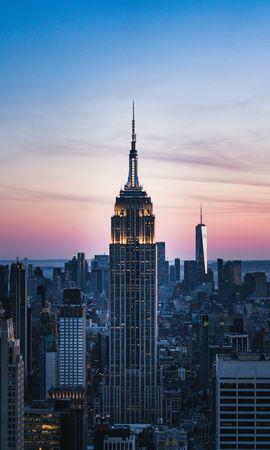 Скачать бесплатно картинку 149925: Город, Здания, Небоскребы, Вид Сверху, Закат, Архитектура, Города обои на телефон