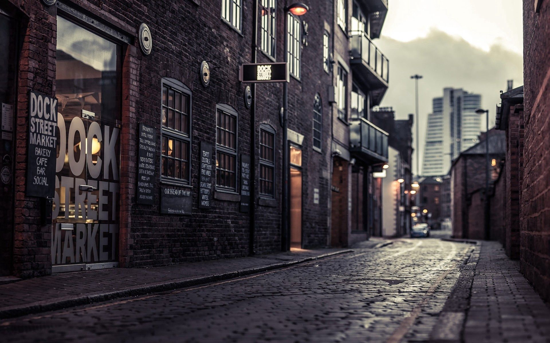 125090 download wallpaper Cities, Houses, City, Street, Sidewalk screensavers and pictures for free