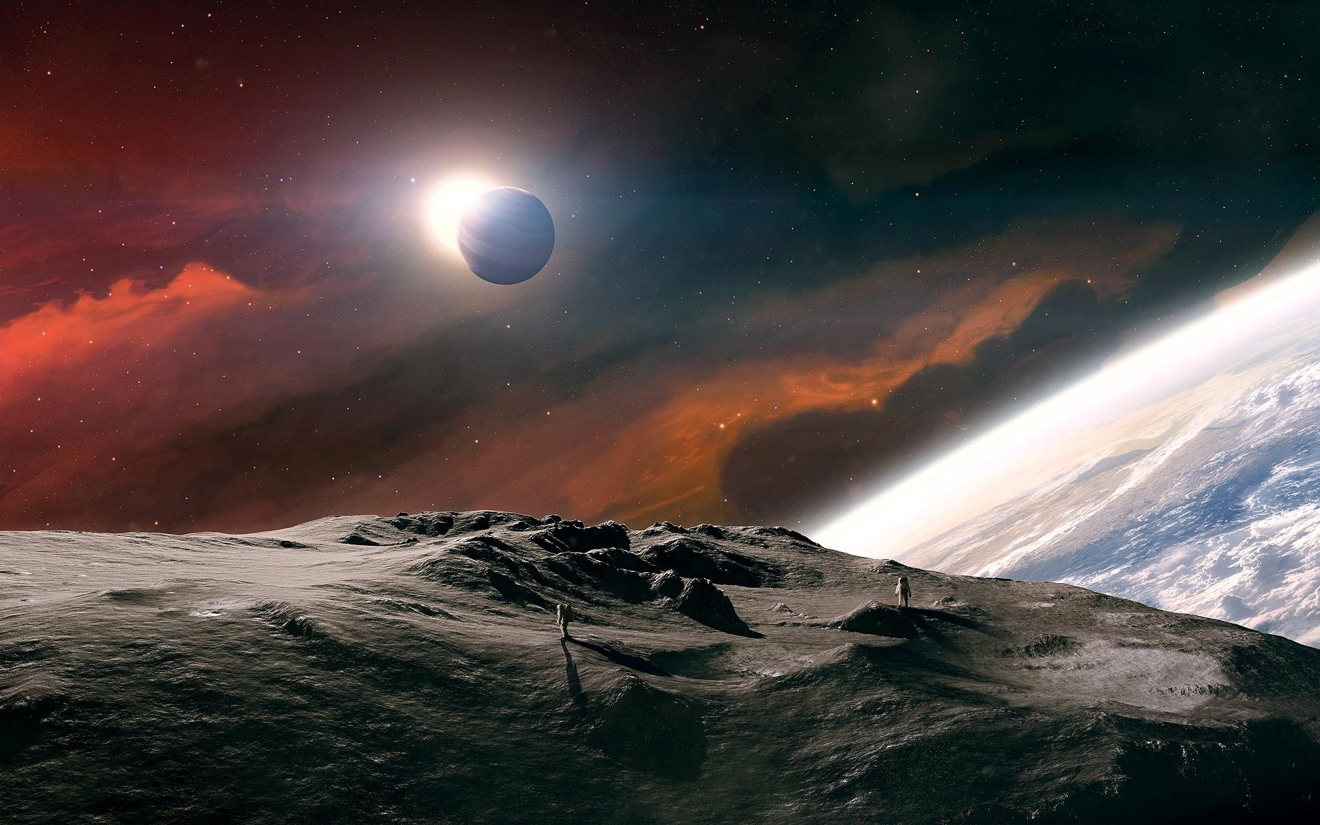 25719 Hintergrundbild herunterladen Fantasie, Planets, Landschaft, Universum - Bildschirmschoner und Bilder kostenlos