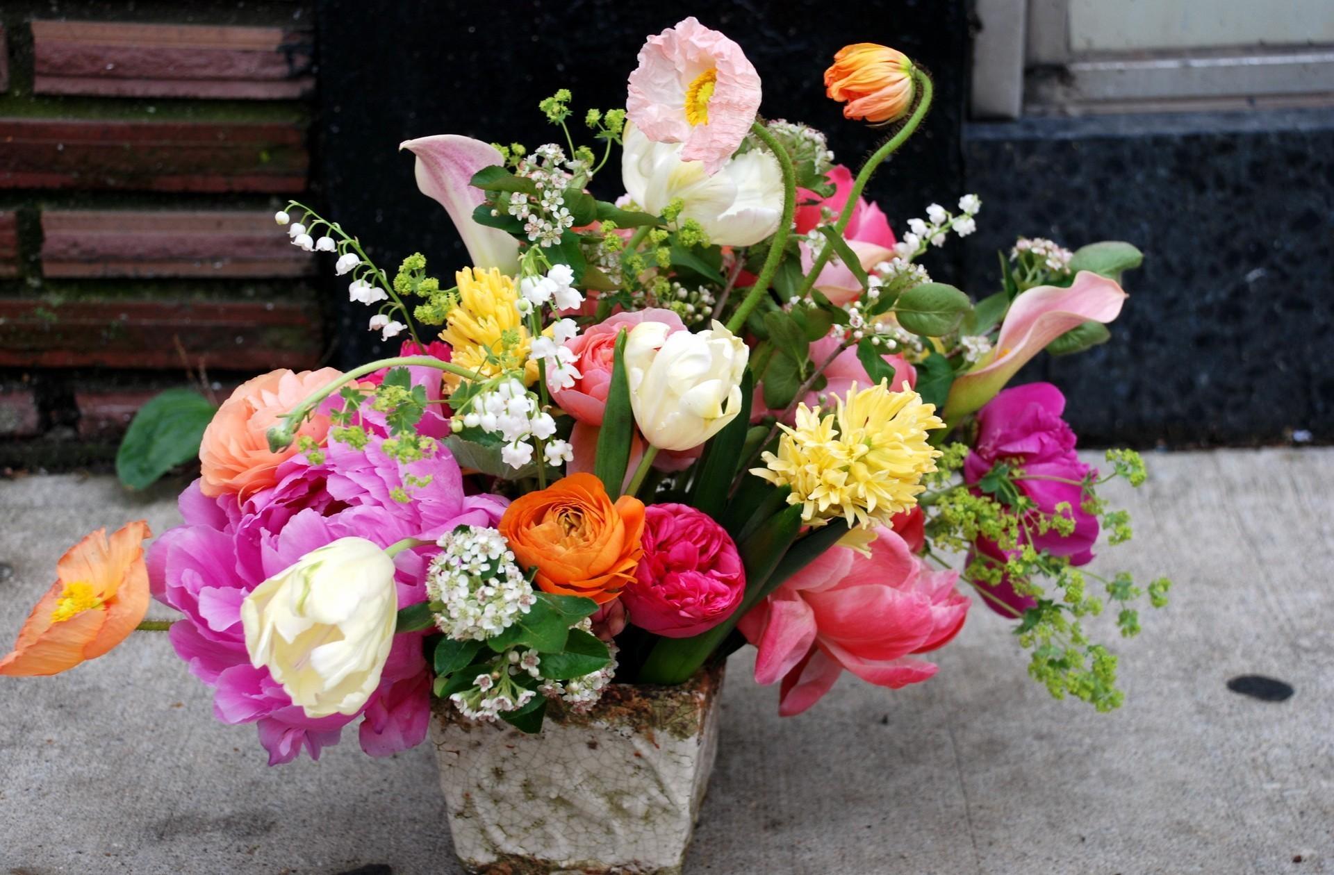 61070 免費下載壁紙 花卉, 茛, 拉农库尤斯, 茶树, 花束, 多样性, 郁金香, 铃兰, 牡丹 屏保和圖片