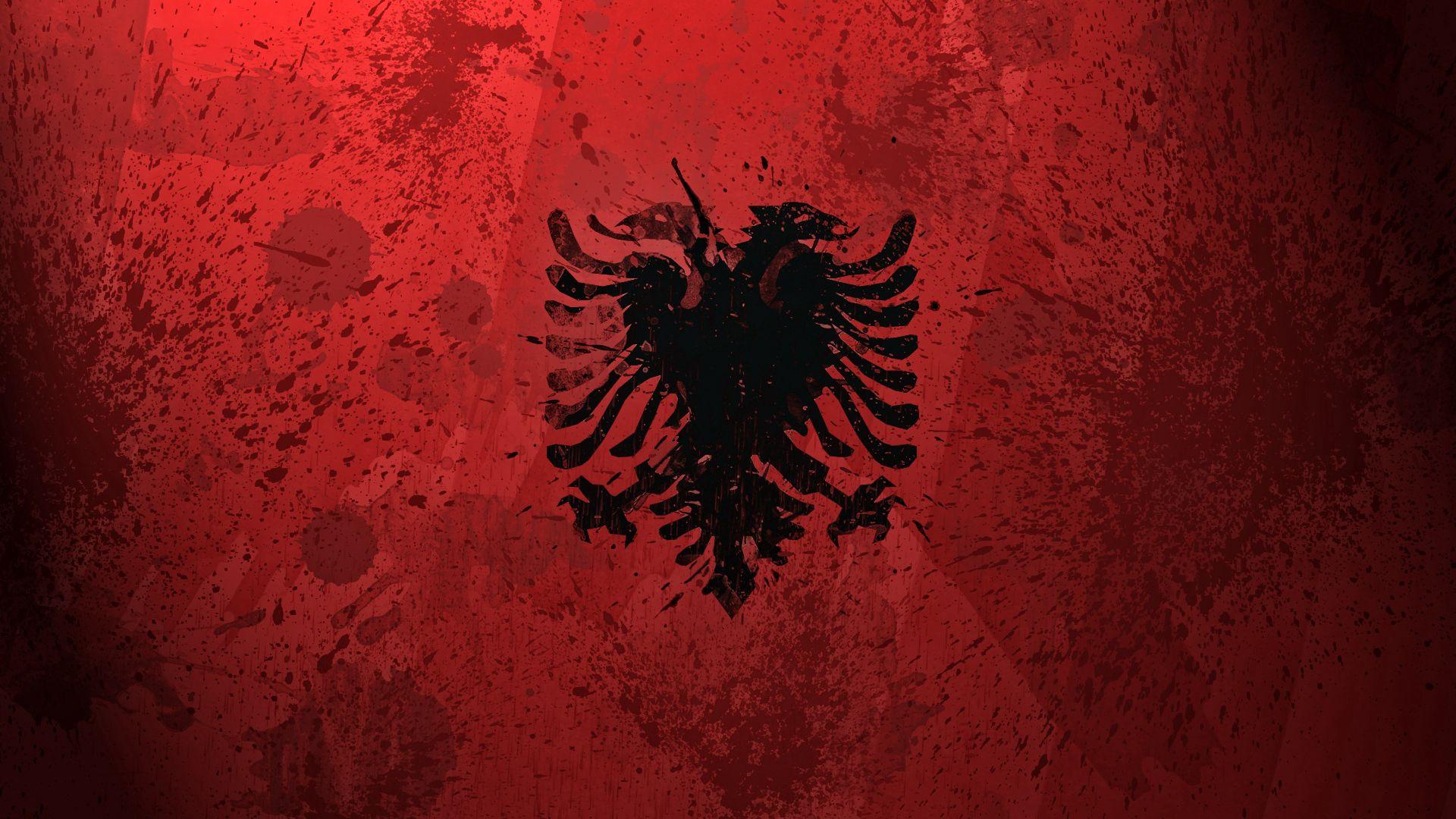 106659 Hintergrundbild herunterladen Hintergrund, Wappen, Textur, Texturen, Farbe, Flagge, Flag, Symbolismus, Symbolik, Albanien - Bildschirmschoner und Bilder kostenlos