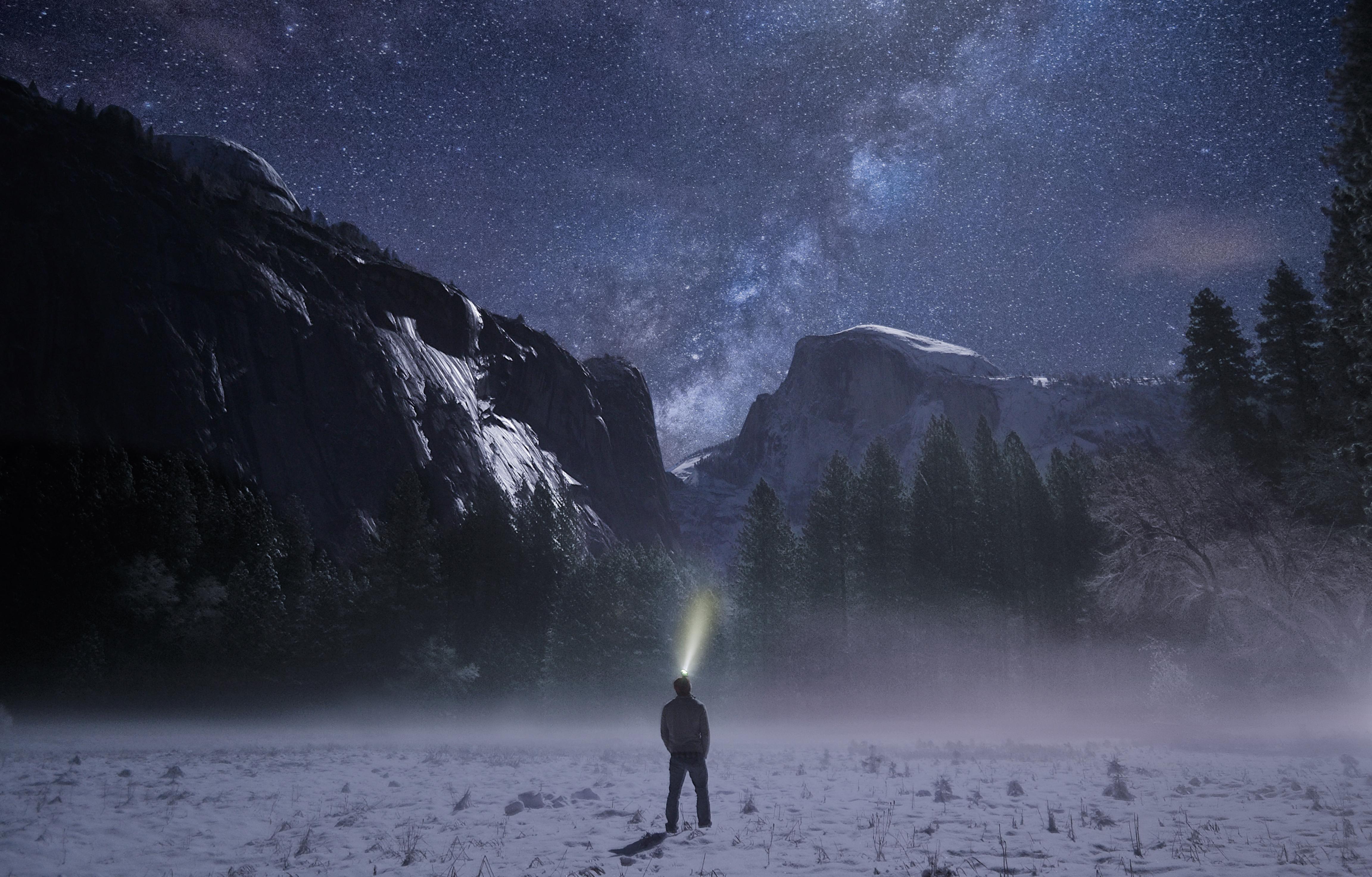 139054 Hintergrundbild 1024x600 kostenlos auf deinem Handy, lade Bilder Natur, Mountains, Übernachtung, Sternenhimmel, Einsamkeit 1024x600 auf dein Handy herunter