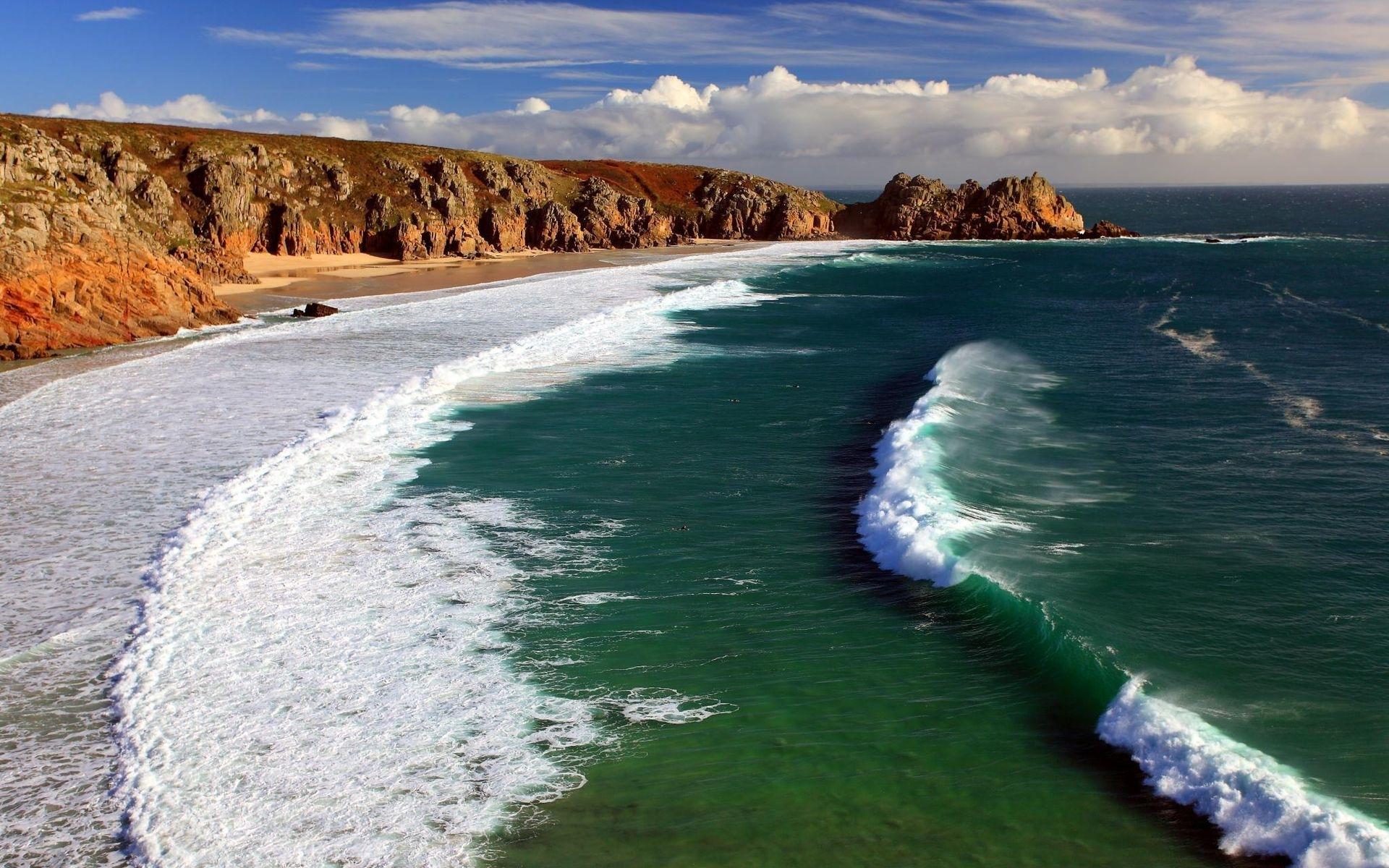 24558 скачать обои Пейзаж, Море, Облака, Волны, Пляж - заставки и картинки бесплатно