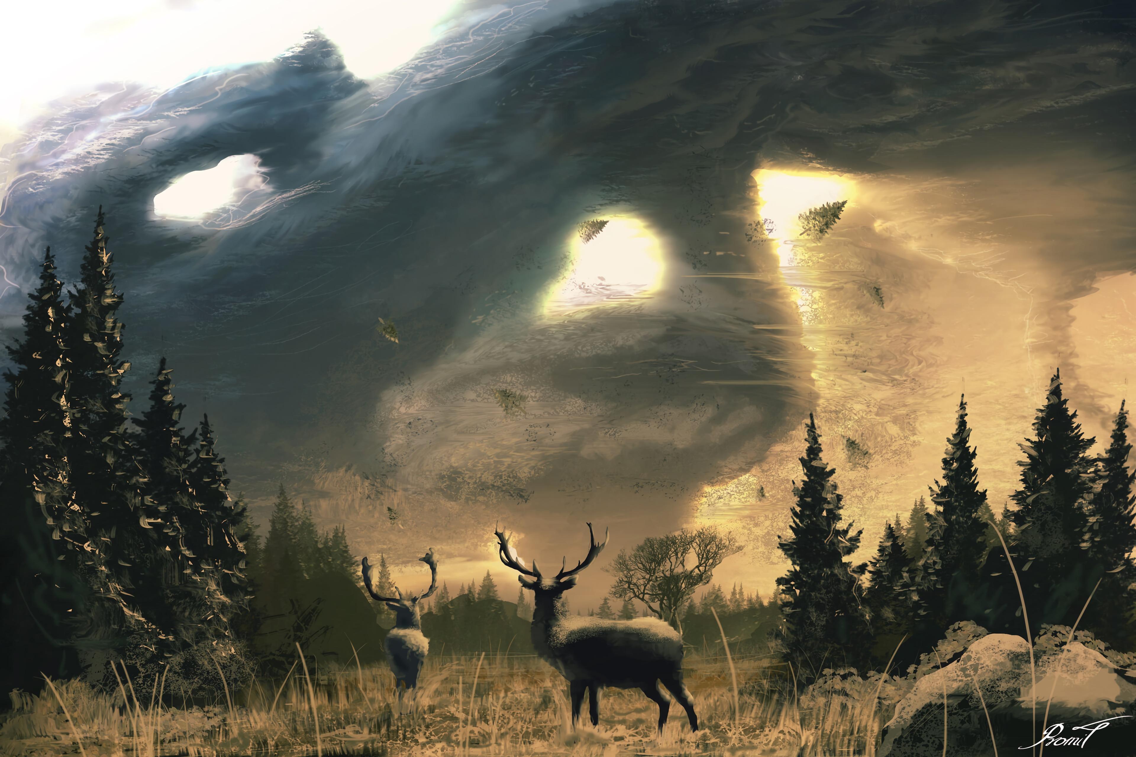 57037 download wallpaper Deer, Deers, Horns, Trees, Art, Sun screensavers and pictures for free