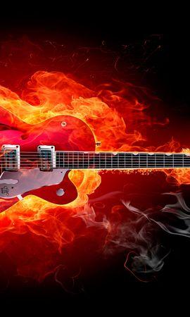 24307 descargar fondo de pantalla Música, Fuego, Instrumentos, Guitarras: protectores de pantalla e imágenes gratis
