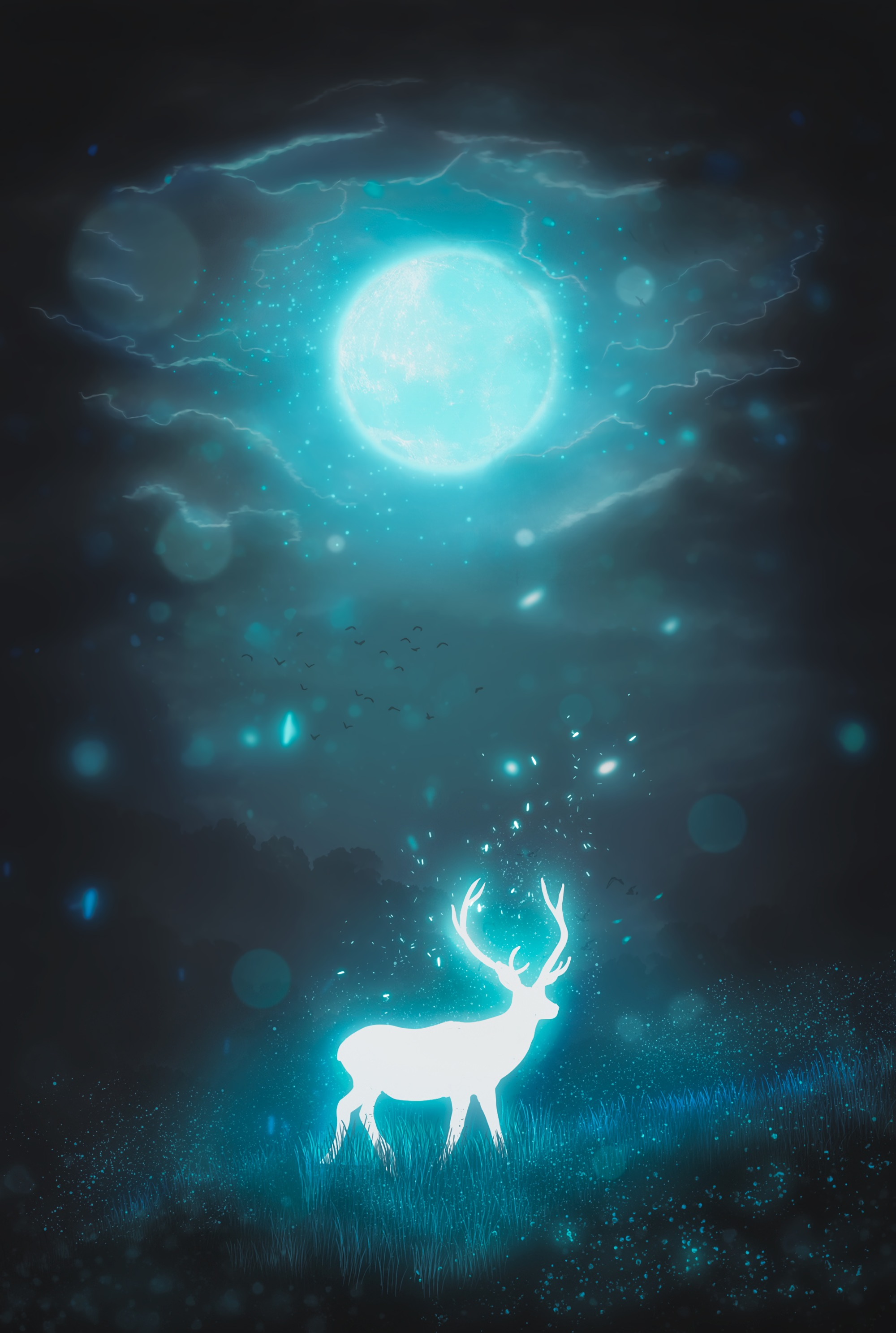 71756 download wallpaper Art, Deer, Night, Moon, Glow, Glare screensavers and pictures for free