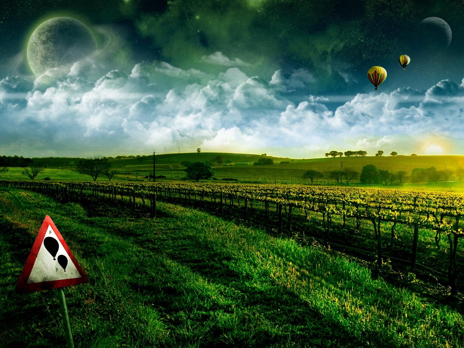 1328 скачать обои Пейзаж, Поля, Небо, Арт - заставки и картинки бесплатно