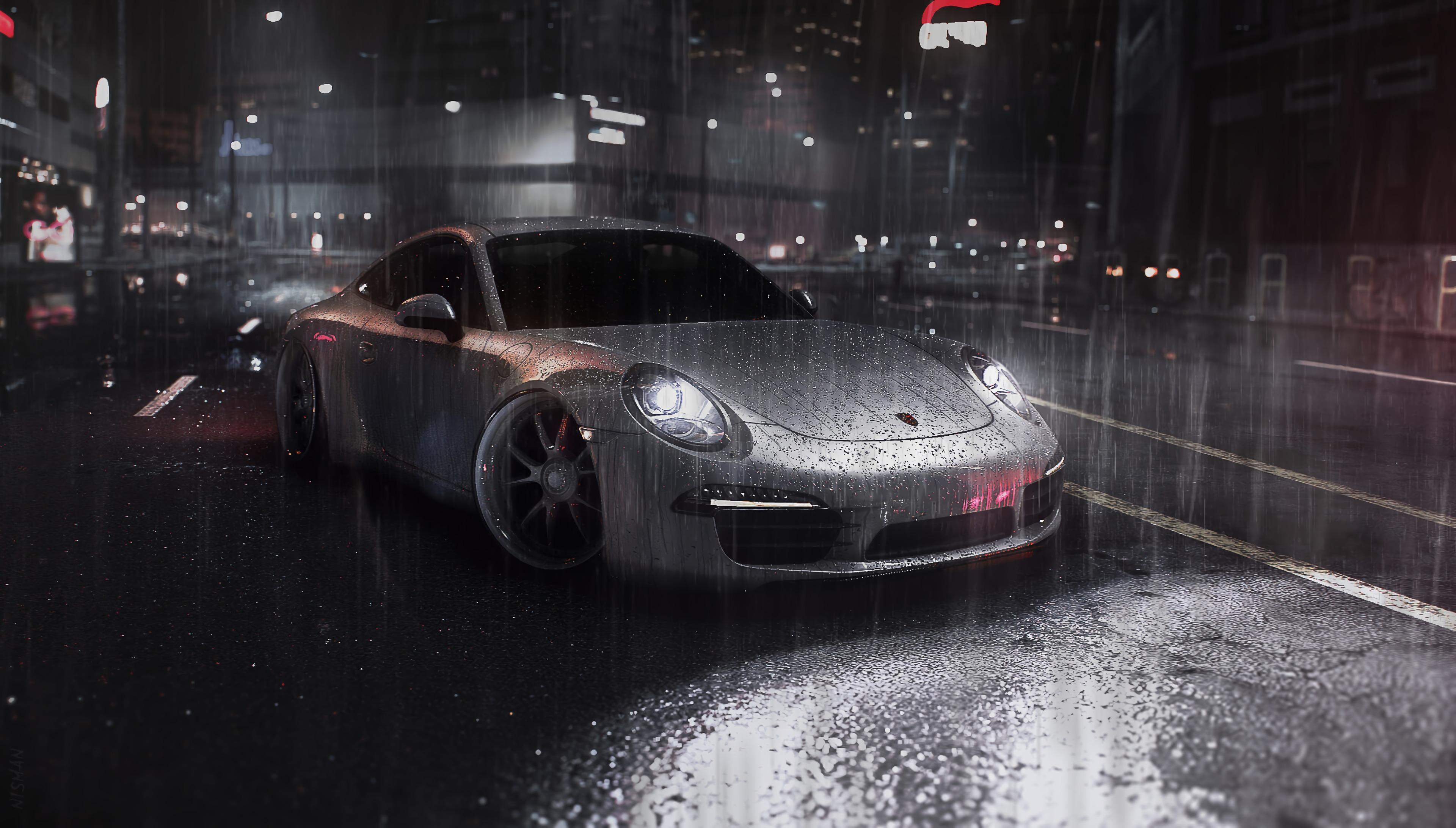 134679 Hintergrundbild herunterladen Sport, Auto, Regen, Cars, Straße, Maschine, Sportwagen, Street - Bildschirmschoner und Bilder kostenlos