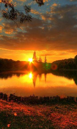 141565 скачать обои Природа, Закат, Озеро, Вечер, Блики, Романтика, Солнце - заставки и картинки бесплатно