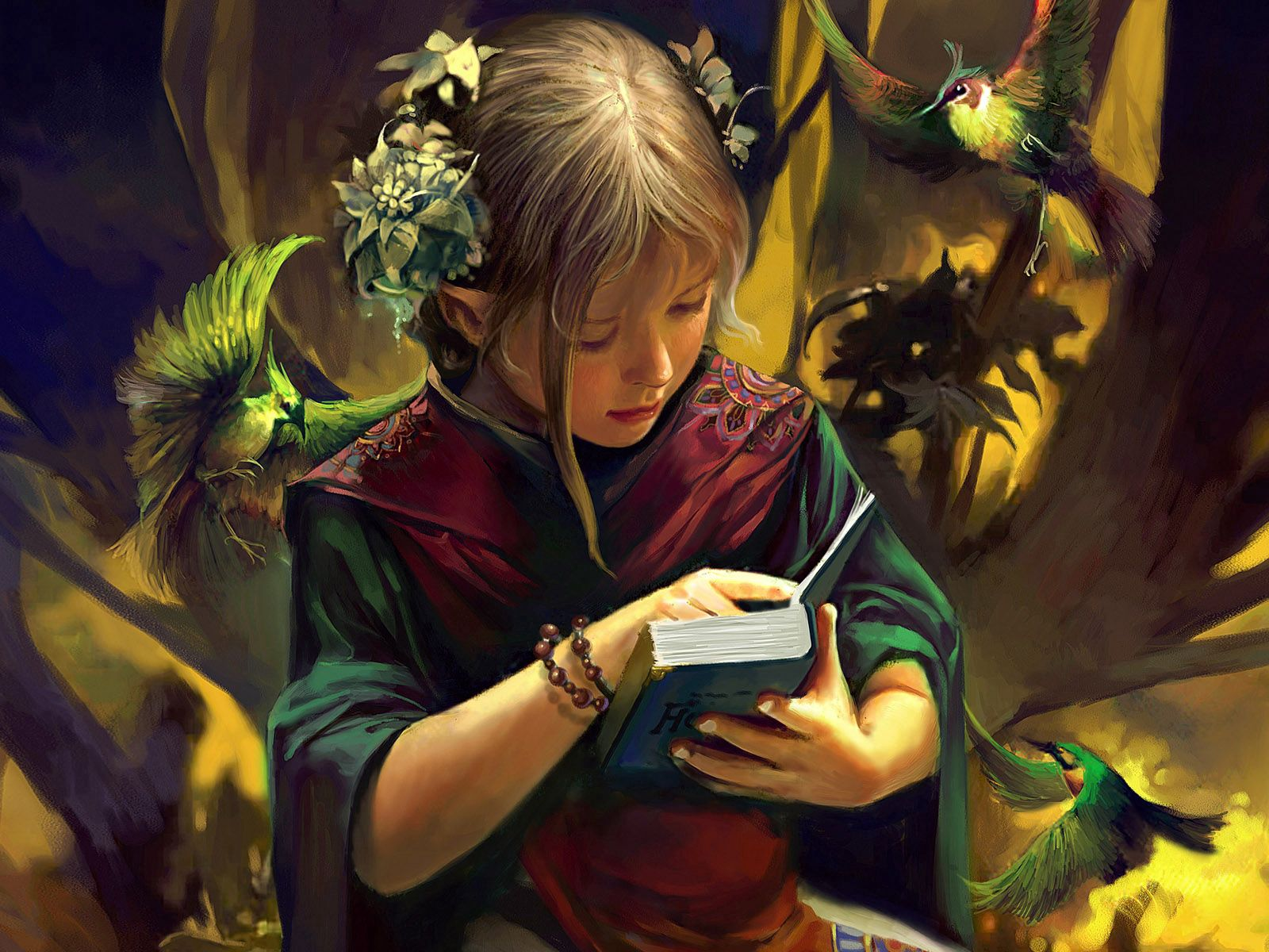 70851 Screensavers and Wallpapers Book for phone. Download Birds, Fantasy, Forest, Girl, Book pictures for free