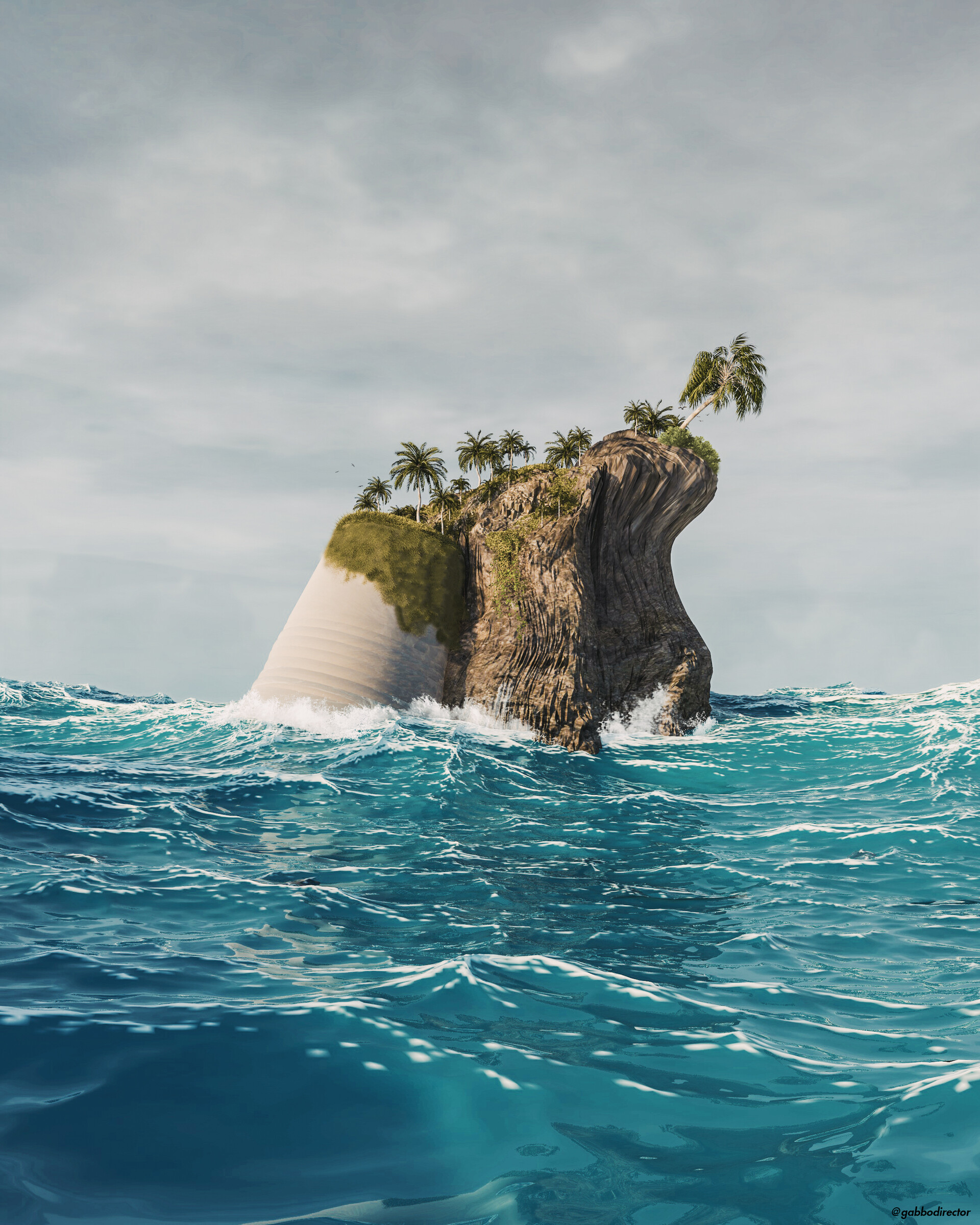 54471 Salvapantallas y fondos de pantalla 3D en tu teléfono. Descarga imágenes de Isla, Mar, 3D, Ondas, Palms gratis