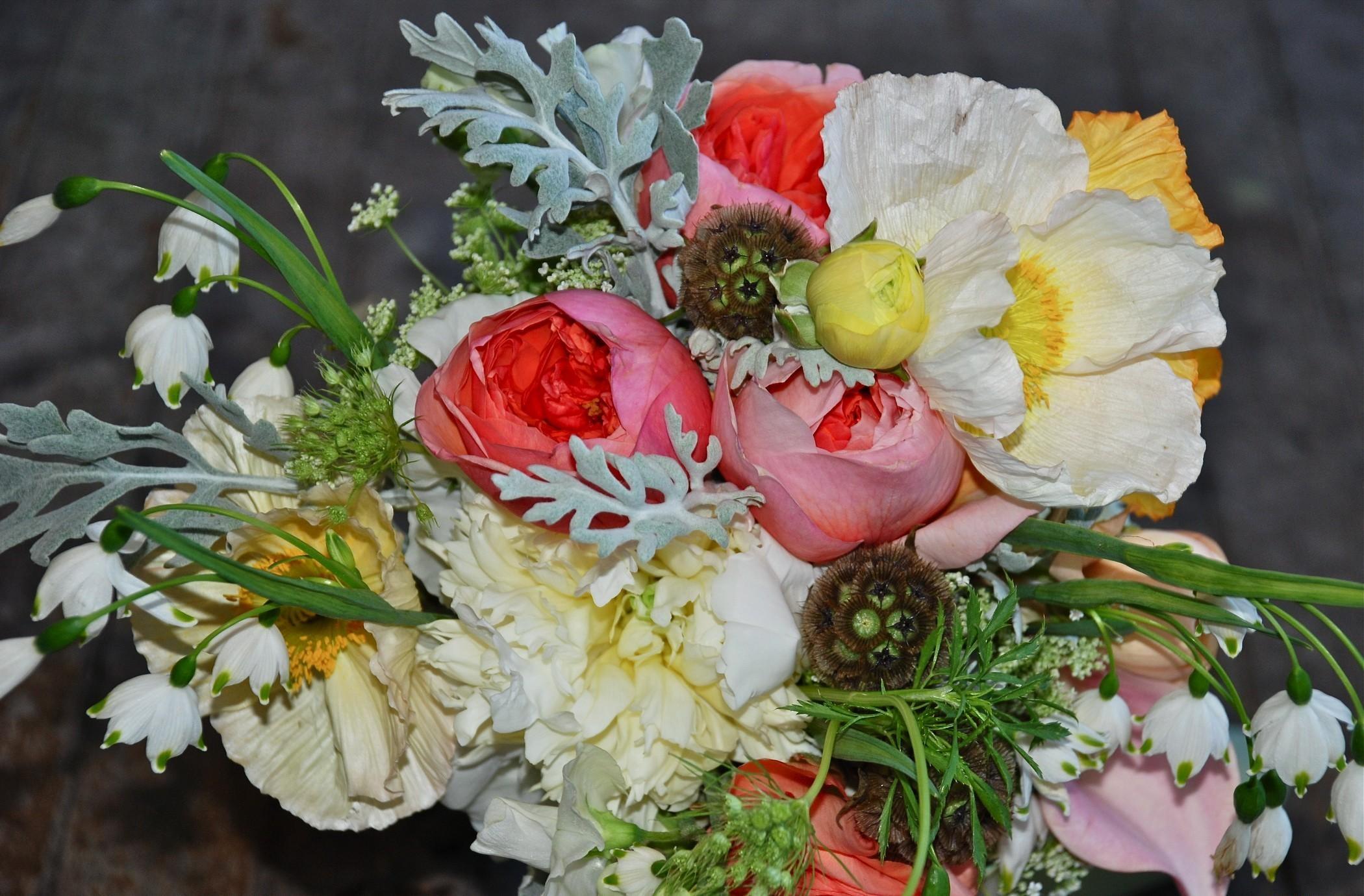 59083 免費下載壁紙 花卉, 作品, 作文, 花束, 铃兰, 牡丹 屏保和圖片