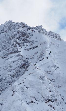 127640 скачать обои Природа, Гора, Склон, Снег, Люди - заставки и картинки бесплатно