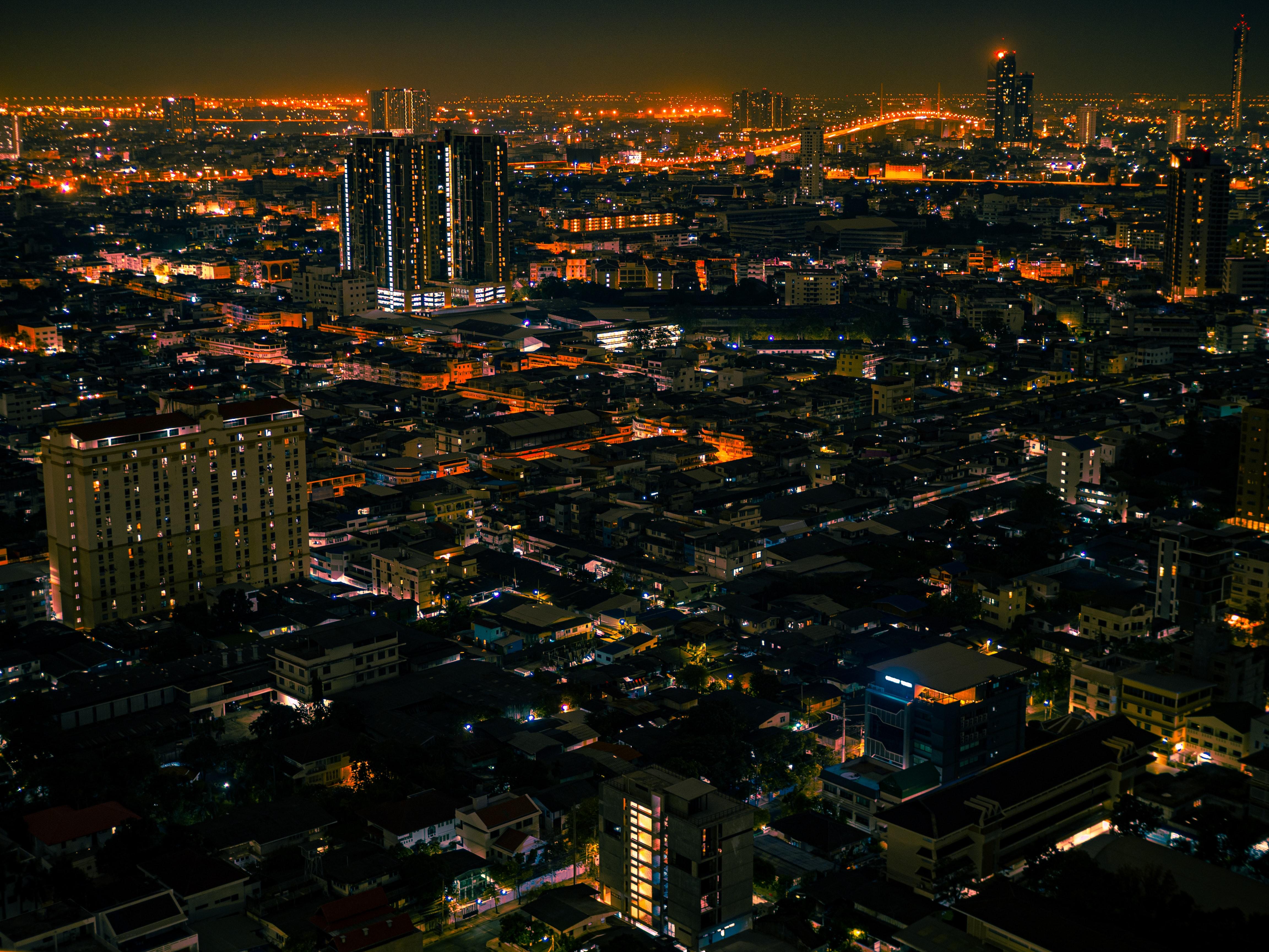 111699 скачать обои Города, Улицы, Огни, Вид Сверху, Ночной Город - заставки и картинки бесплатно