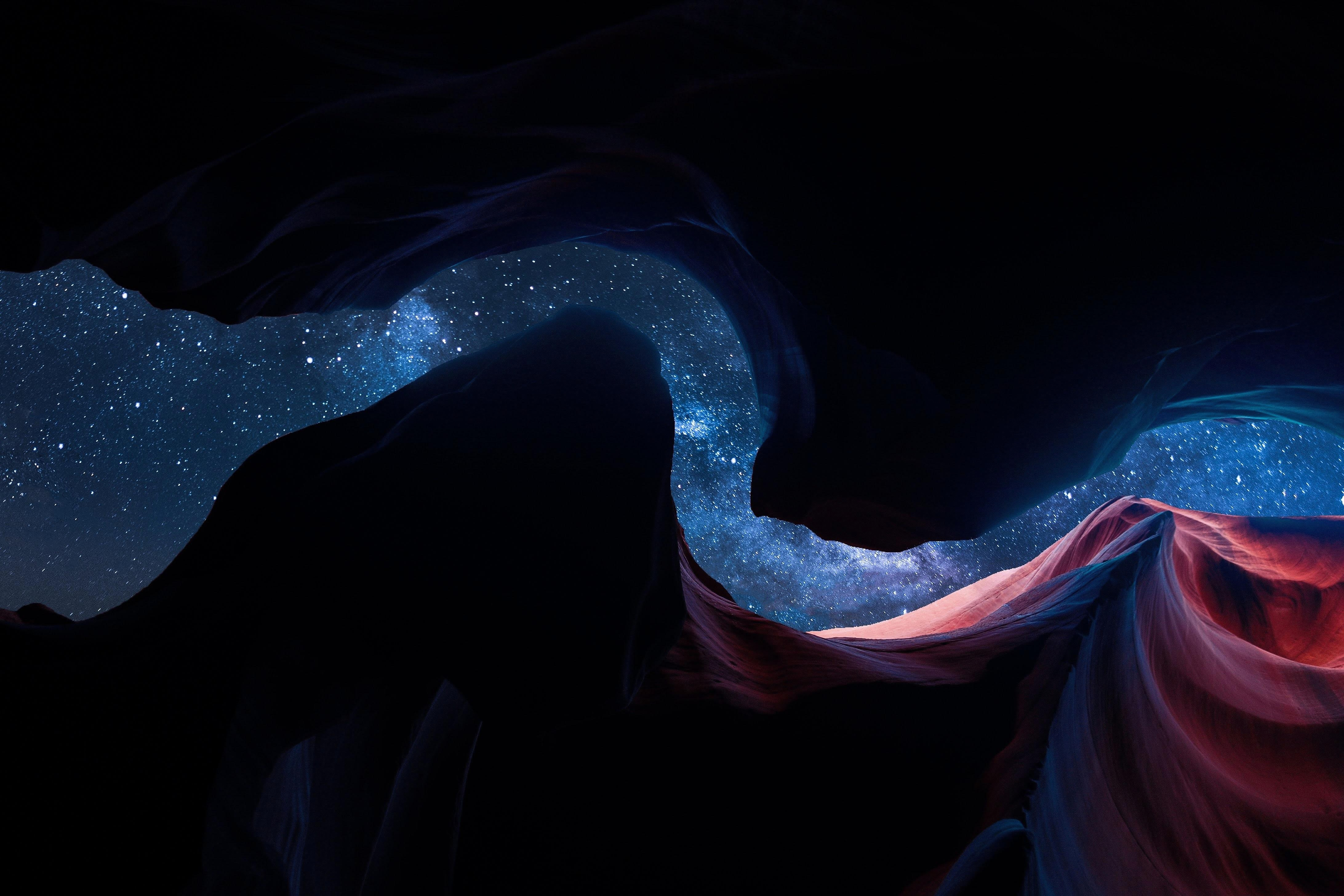 154651 download wallpaper Nature, Canyon, Starry Sky, Slit, Stars screensavers and pictures for free