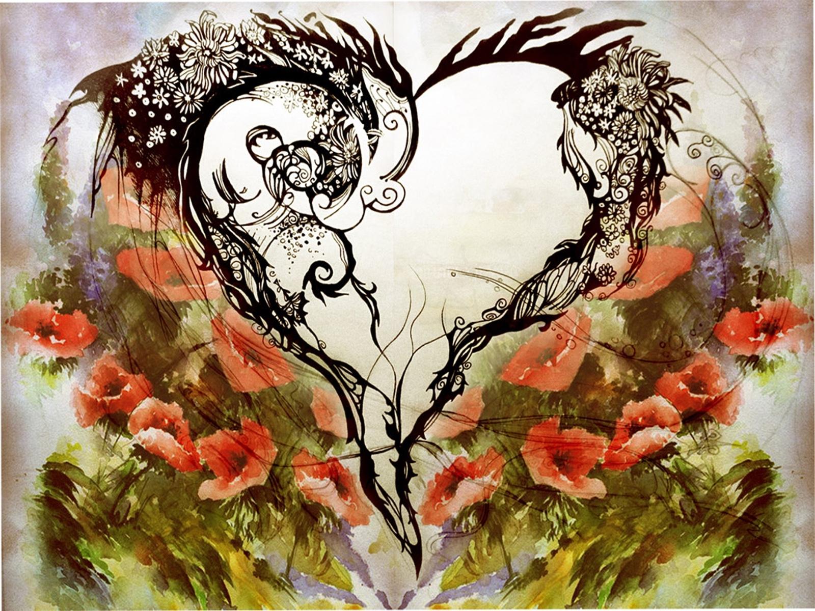 3847 скачать обои Сердца, Любовь, День Святого Валентина (Valentine's Day), Рисунки - заставки и картинки бесплатно