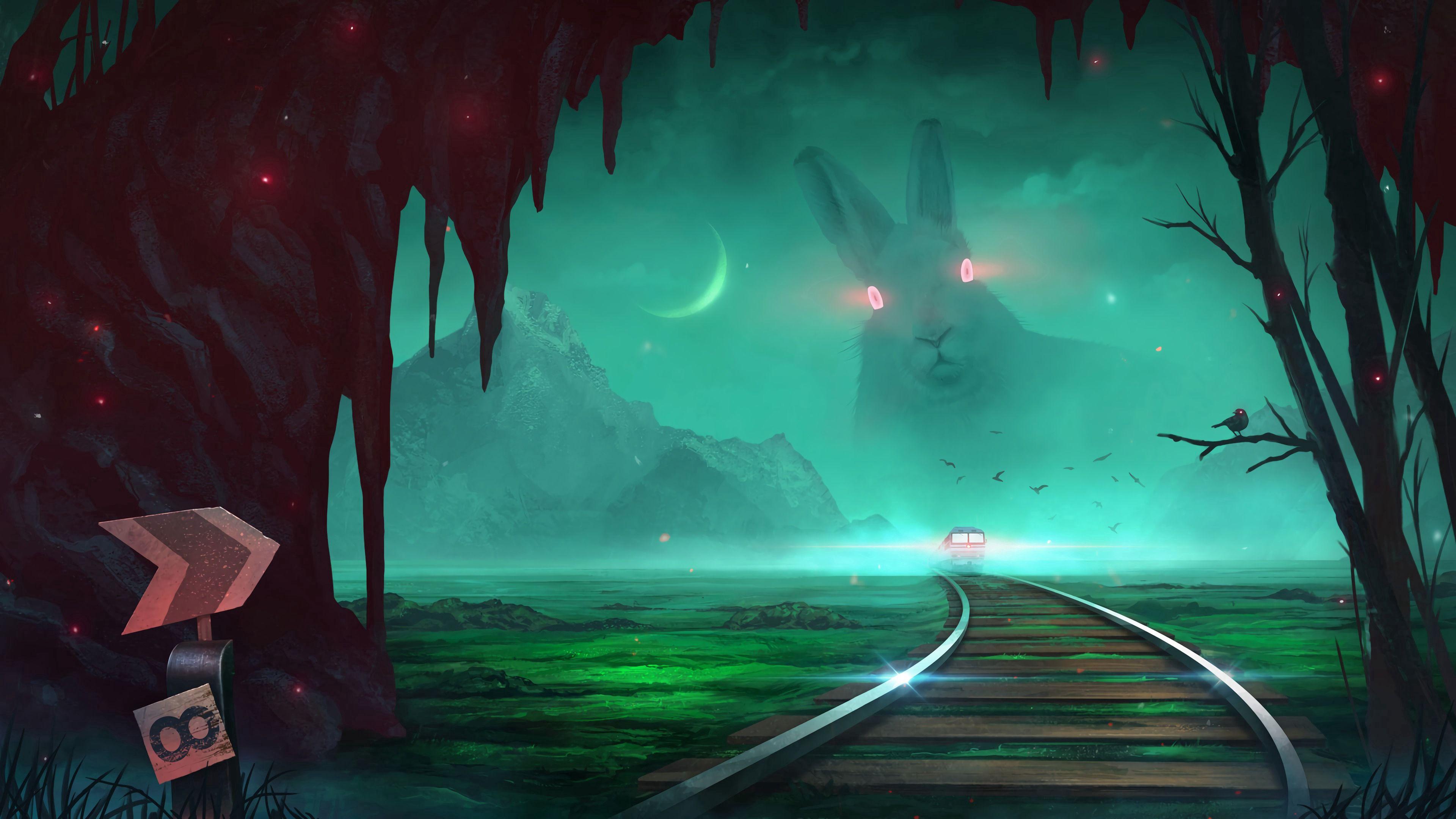 86062 Hintergrundbild herunterladen Kunst, Kaninchen, Übernachtung, Illusion, Ein Zug, Zug - Bildschirmschoner und Bilder kostenlos