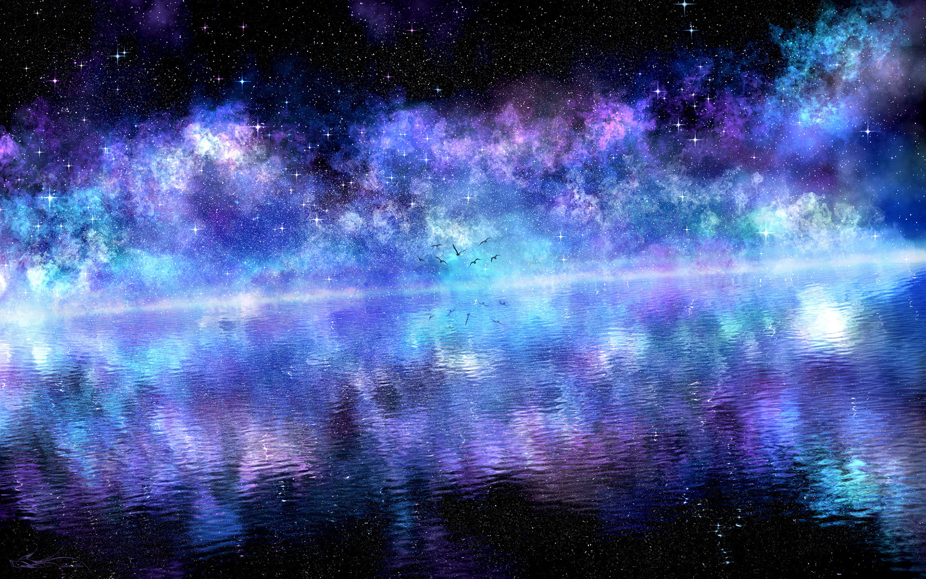 103727 download wallpaper Birds, Water, Art, Clouds, Shining, Reflection, Starry Sky, Surface, Purple screensavers and pictures for free