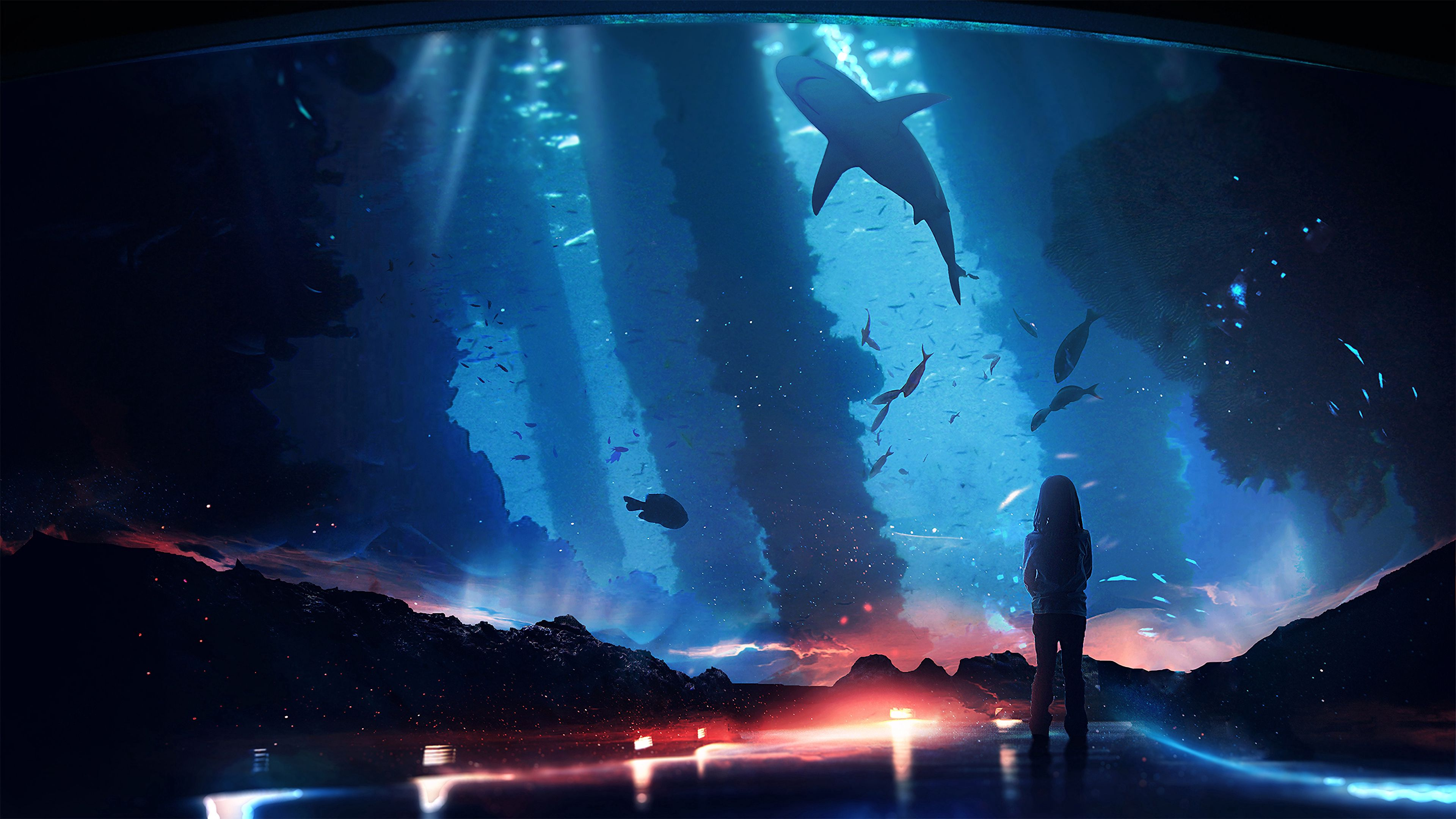 150232 download wallpaper Art, Silhouette, Aquarium, Dark, Backlight, Illumination, Fishes screensavers and pictures for free