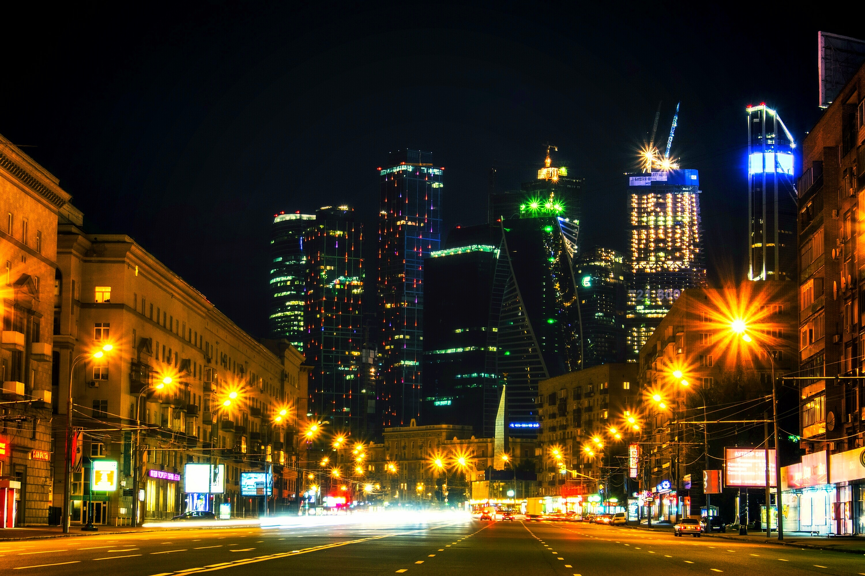 146401 Screensavers and Wallpapers Night City for phone. Download Cities, Architecture, Moskow, Night City, City Lights, Skyscrapers, Russia pictures for free