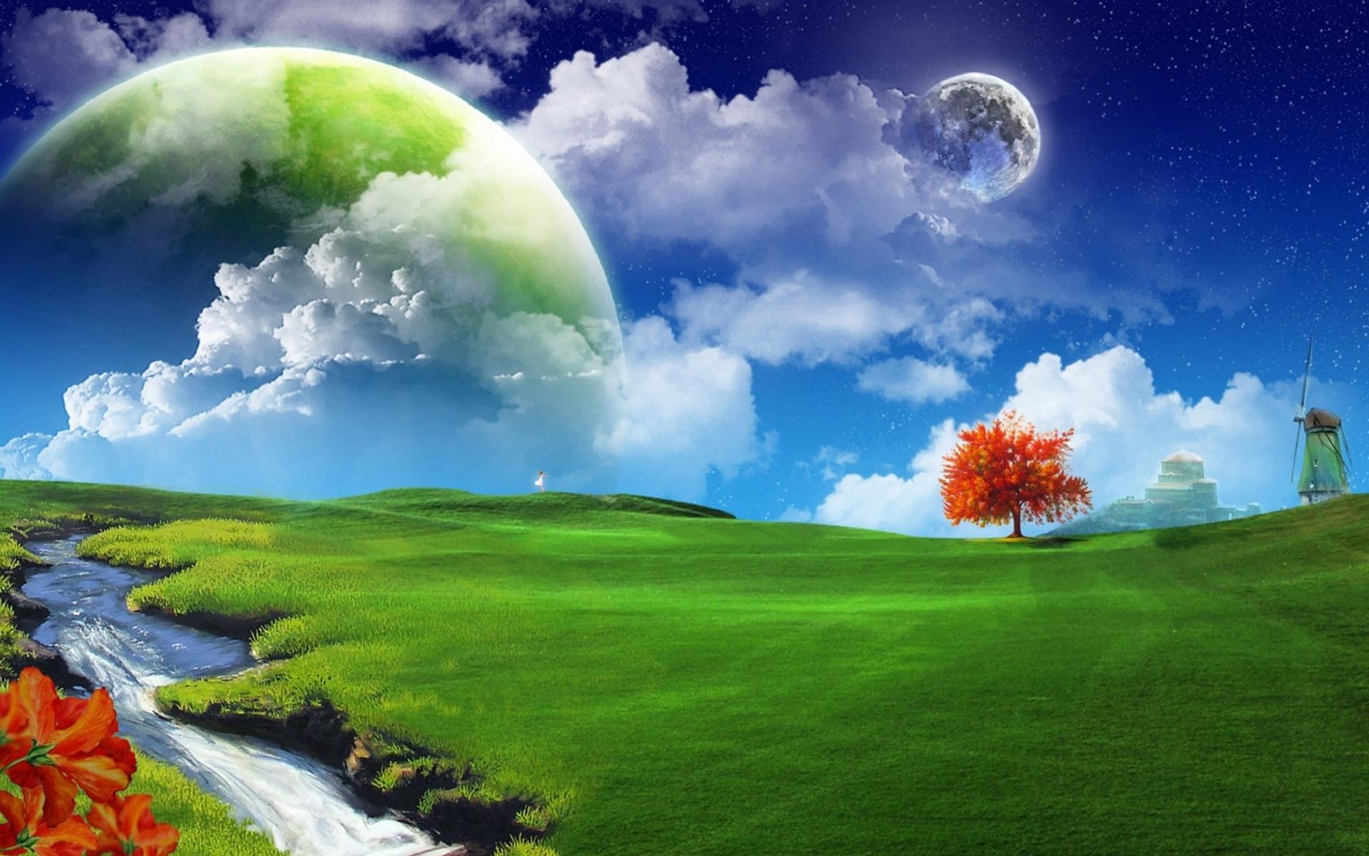 18642 скачать обои Пейзаж, Трава, Фон, Небо, Планеты, Облака, Луна - заставки и картинки бесплатно