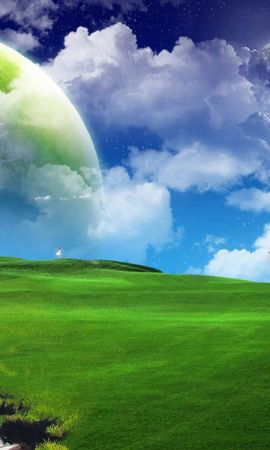 18642 baixar papel de parede Paisagem, Grama, Fundo, Céu, Planetas, Nuvens, Lua - protetores de tela e imagens gratuitamente