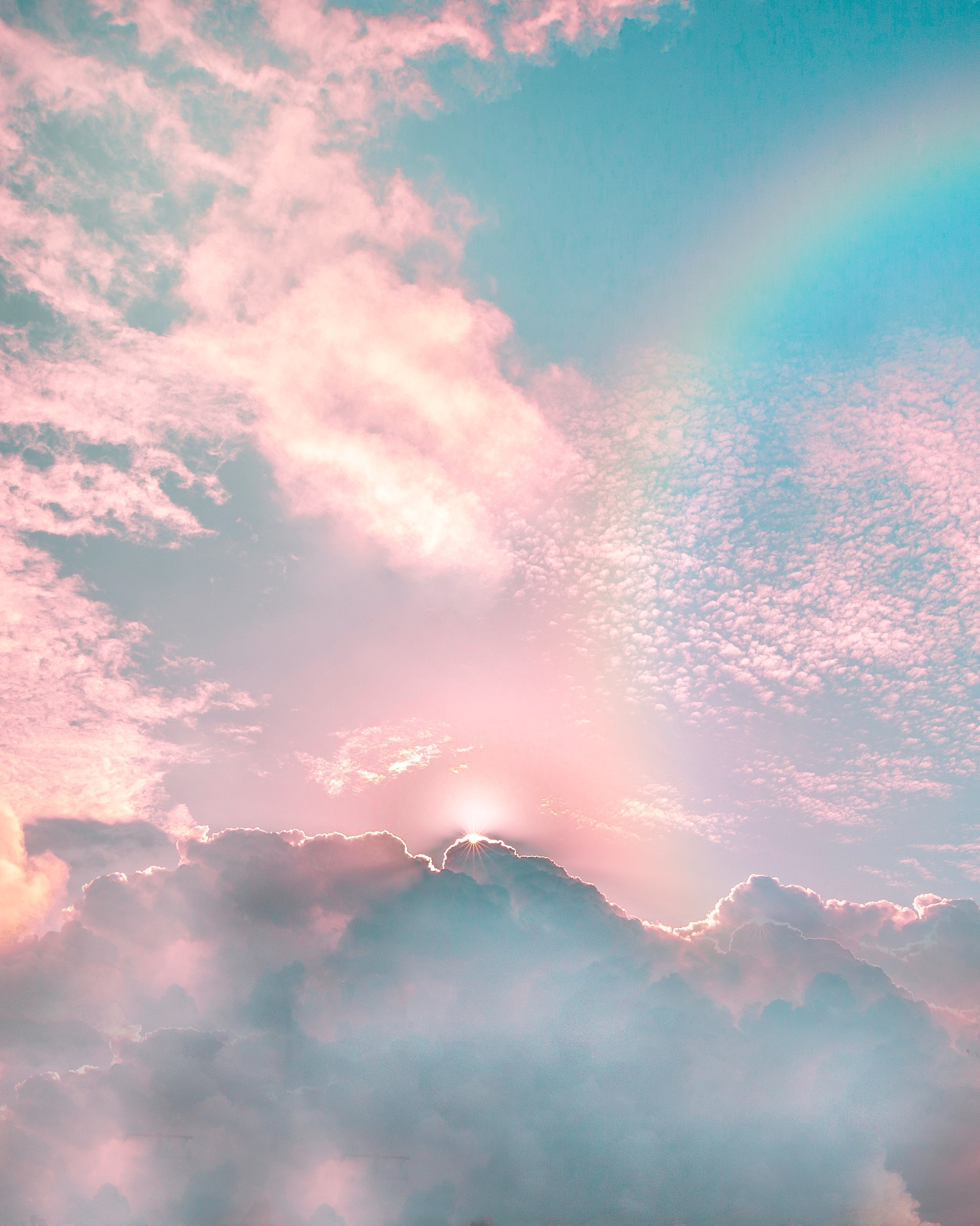 133240 Screensavers and Wallpapers Beams for phone. Download Nature, Sky, Clouds, Rainbow, Shine, Beams, Rays, Brilliance, Porous pictures for free