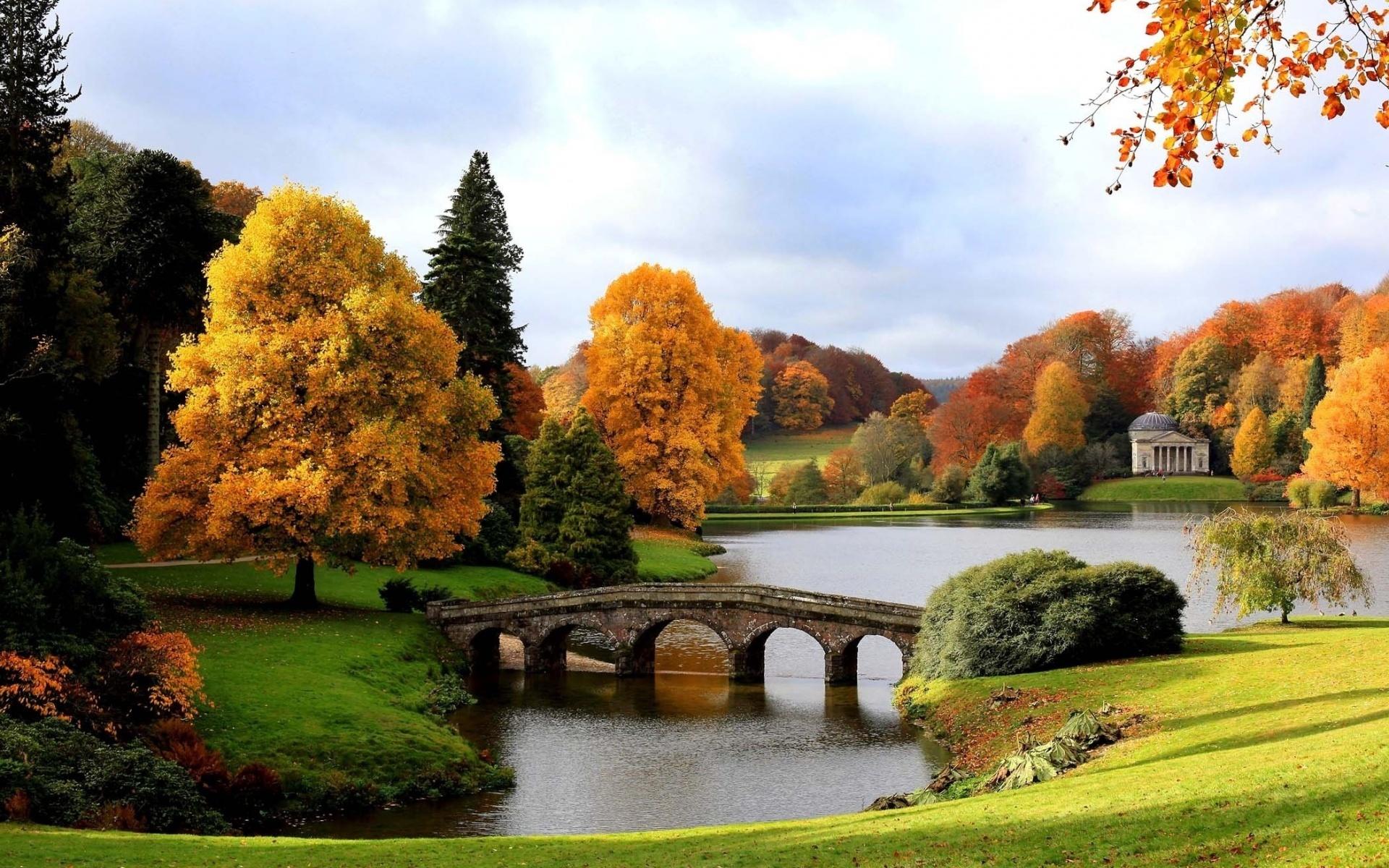 20723 скачать обои Мосты, Пейзаж, Деревья, Река, Осень - заставки и картинки бесплатно