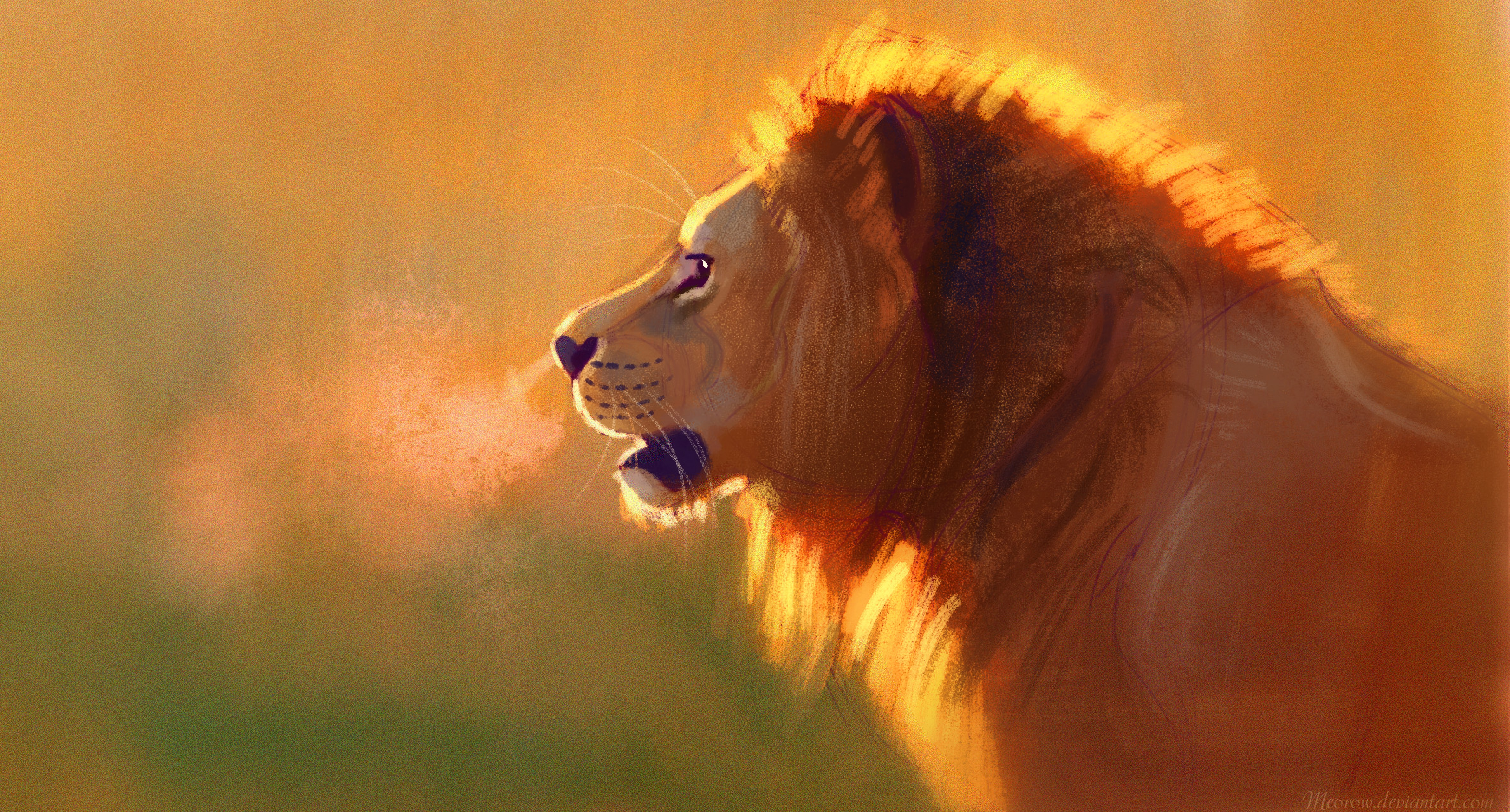 141073 download wallpaper Lion, Big Cat, King Of Beasts, King Of The Beasts, Wildlife, Art screensavers and pictures for free