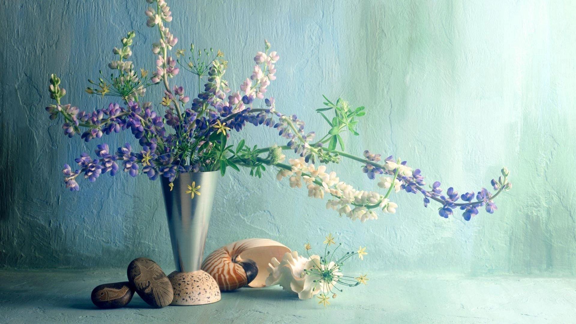 86948 скачать обои Цветы, Ракушки, Букет, Стена, Ваза, Люпины - заставки и картинки бесплатно