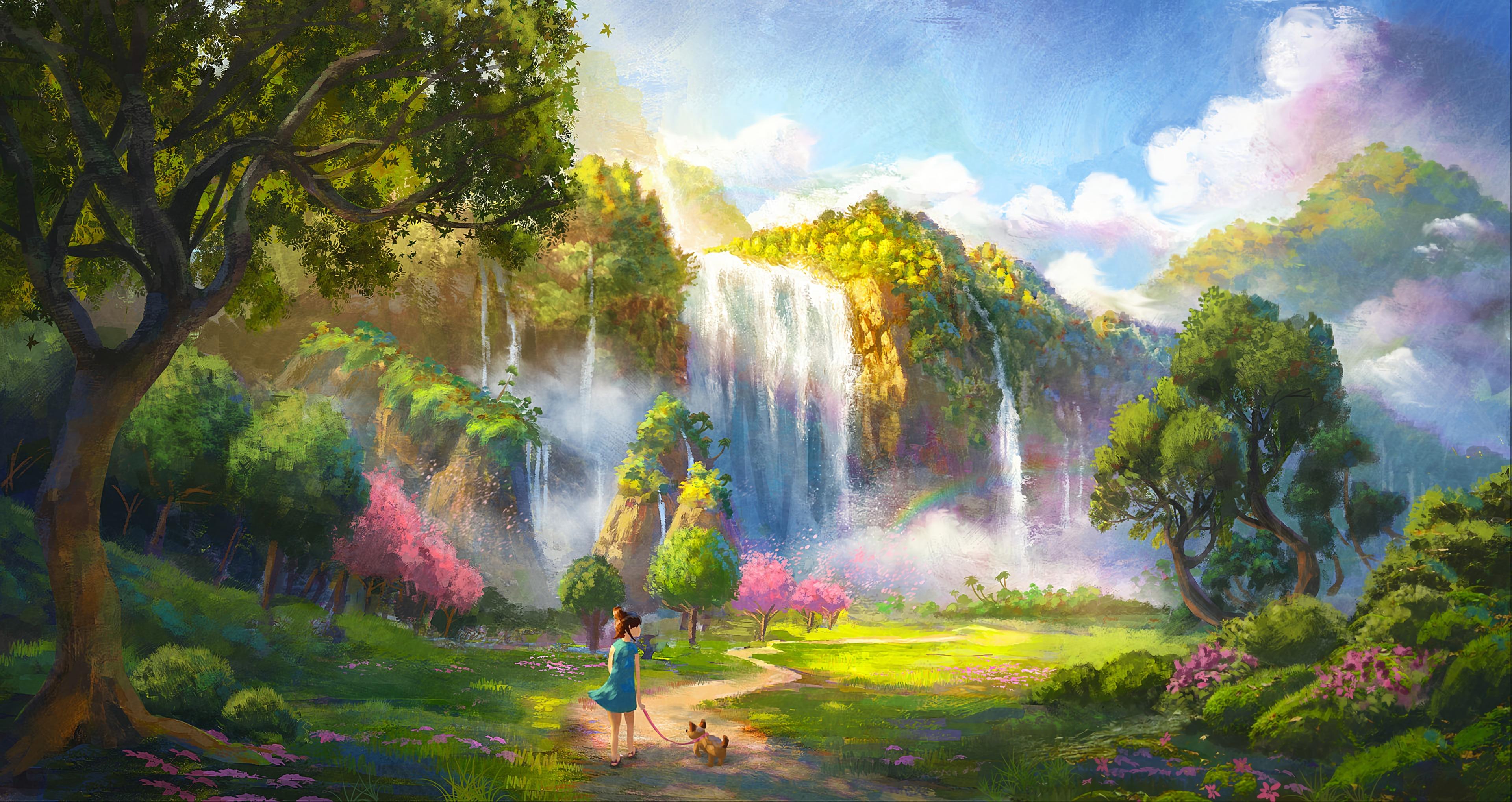 78786 Hintergrundbild herunterladen Mädchen, Hund, Landschaft, Kunst, Wasserfall - Bildschirmschoner und Bilder kostenlos