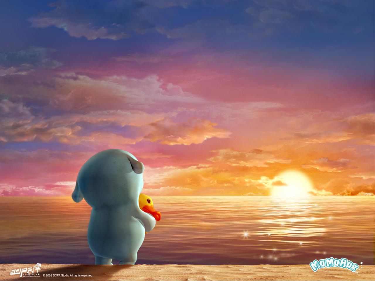 11268 скачать обои Мультфильмы, Закат, Небо, Море, Солнце, Облака - заставки и картинки бесплатно