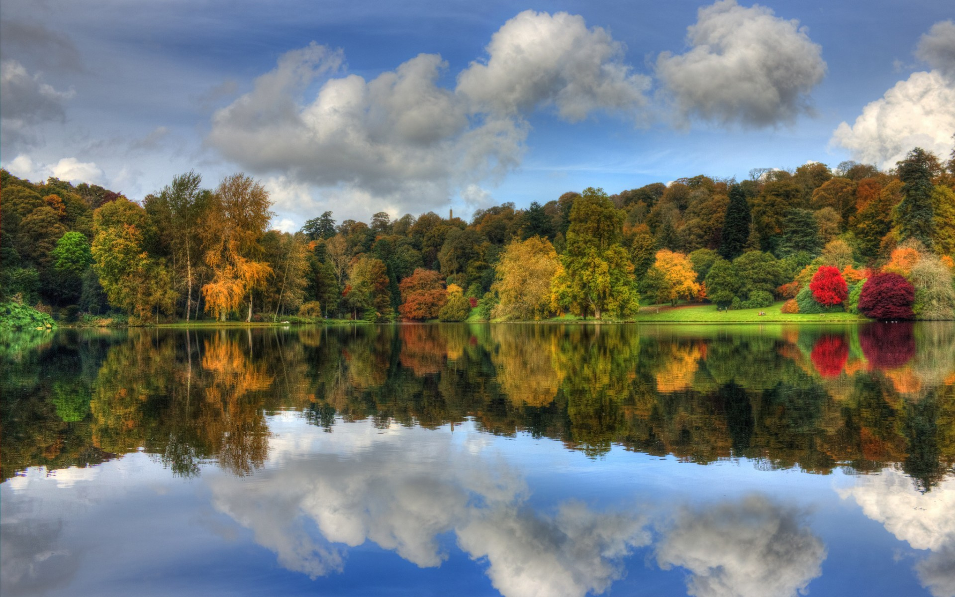 27939 download wallpaper Landscape, Rivers, Trees, Autumn, Clouds screensavers and pictures for free