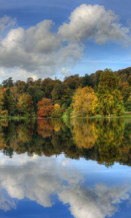 27939 скачать обои Пейзаж, Река, Деревья, Осень, Облака - заставки и картинки бесплатно