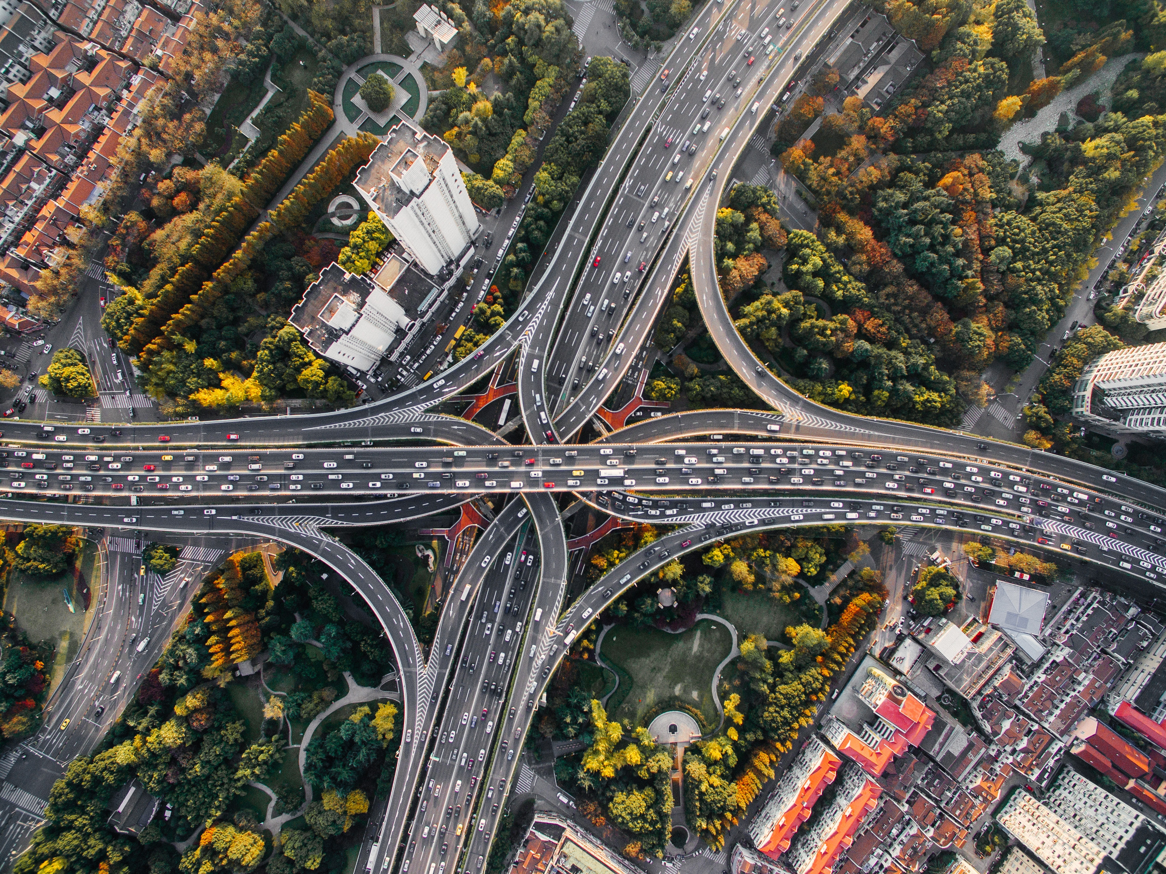 84552 download wallpaper Bridges, Cities, Roads, View From Above, Traffic, Movement, China, Shanghai, Crossroads, Crossroad screensavers and pictures for free