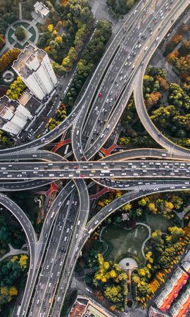 84552 Screensavers and Wallpapers Roads for phone. Download Crossroads, Crossroad, Roads, View From Above, Traffic, Movement, Shanghai, China, Cities, Bridges pictures for free