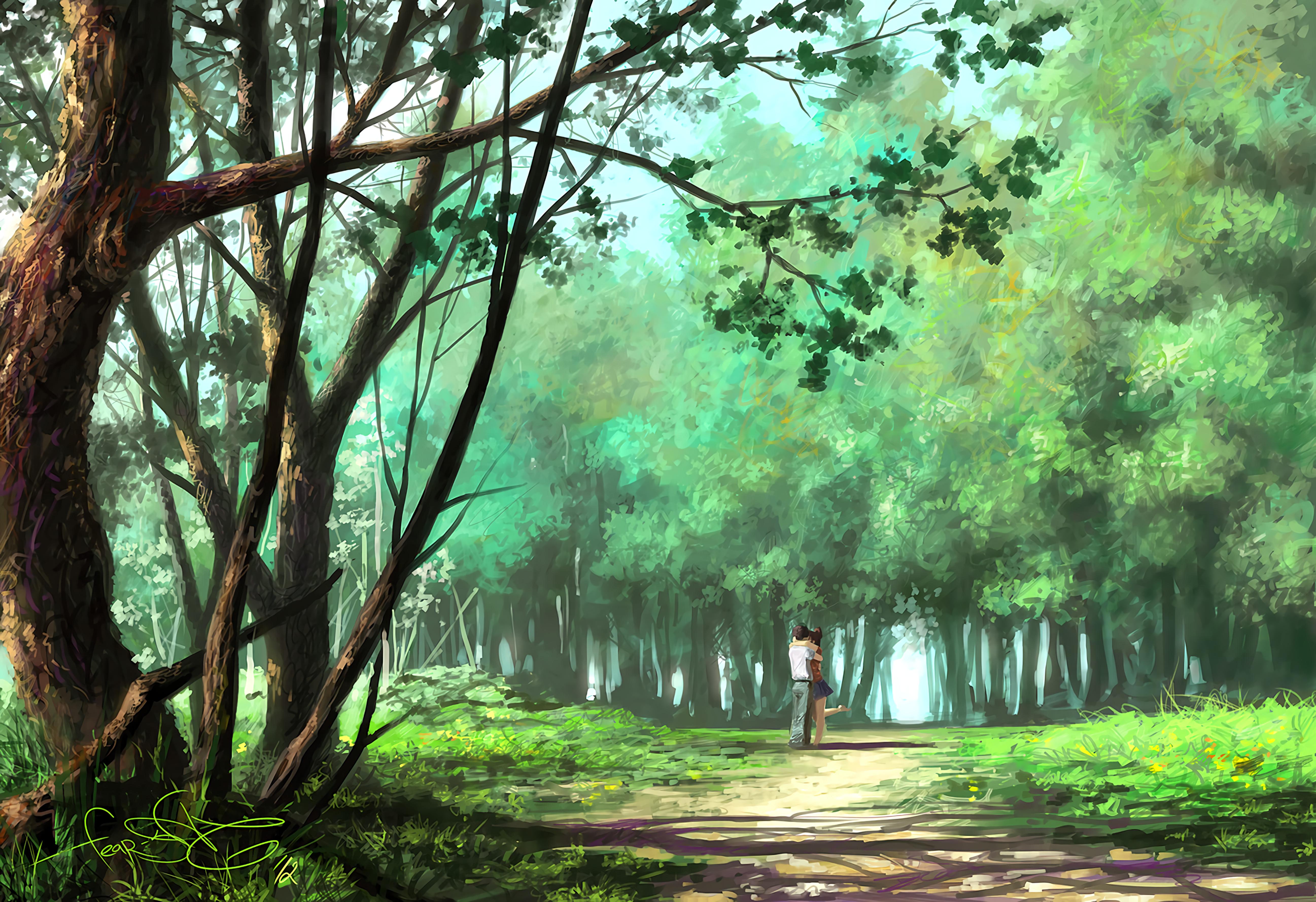 83098 Hintergrundbild herunterladen Kunst, Liebe, Wald, Der Park, Park, Paar, Romantik, Umarmung, Umarmen - Bildschirmschoner und Bilder kostenlos