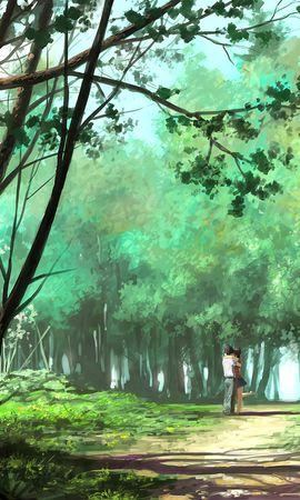 83098 скачать обои Пара, Объятия, Арт, Лес, Парк, Любовь, Романтика - заставки и картинки бесплатно