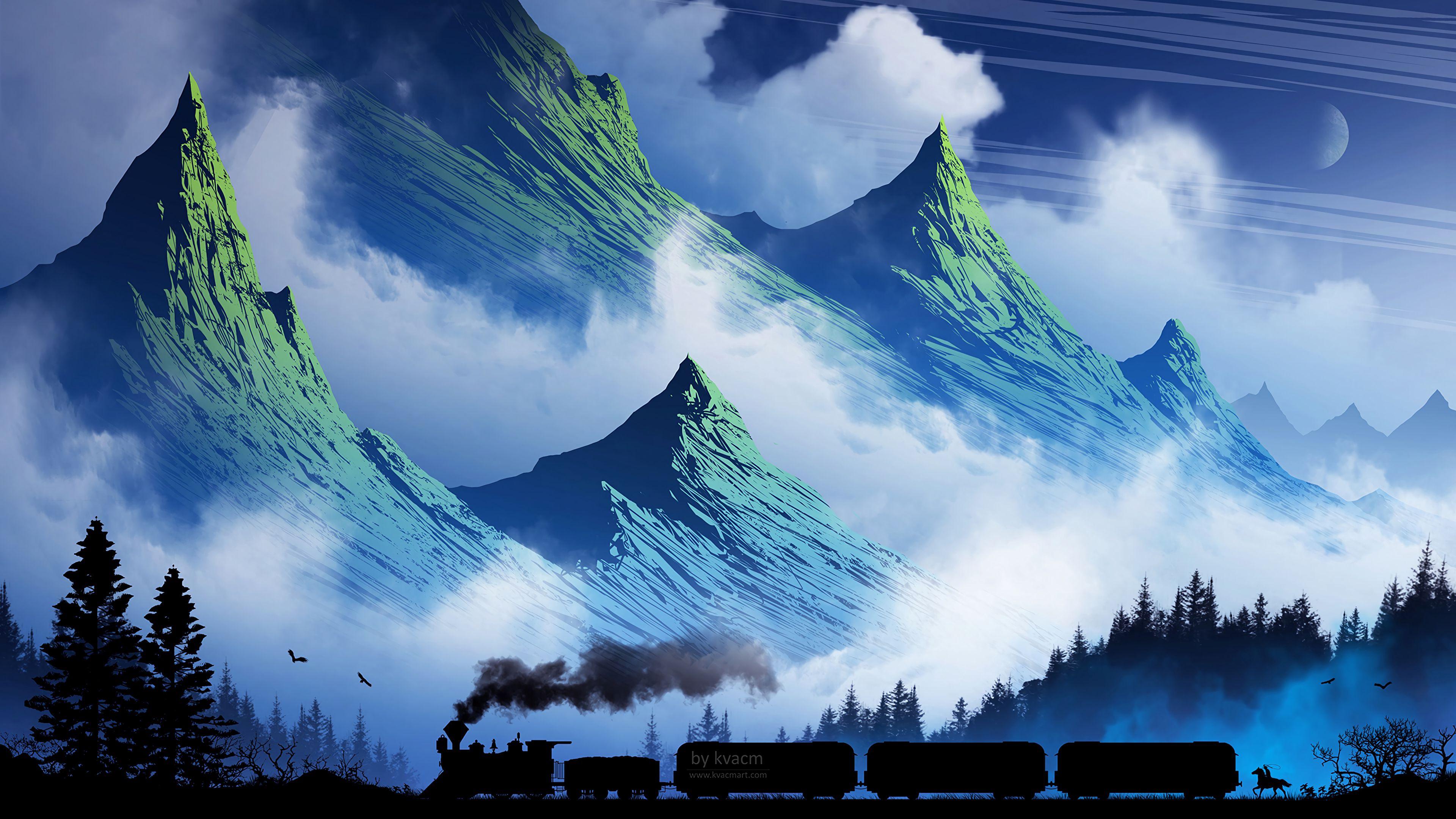 104264 Protetores de tela e papéis de parede Montanhas em seu telefone. Baixe Arte, Montanhas, Fumar, Névoa, Nevoeiro, Um Trem, Trem fotos gratuitamente