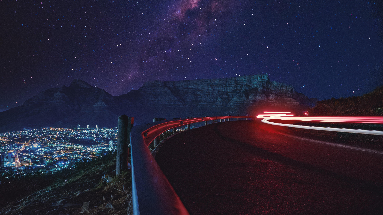 139311 Hintergrundbild 1024x600 kostenlos auf deinem Handy, lade Bilder Sterne, Dunkel, Straße, Sternenhimmel, Langzeitbelichtung, Lange Exposition, Glühen, Glow 1024x600 auf dein Handy herunter