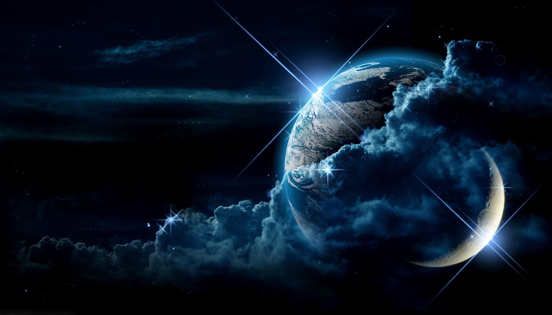 70471 скачать обои Космос, Свет, Планета, Облака, Звезды - заставки и картинки бесплатно