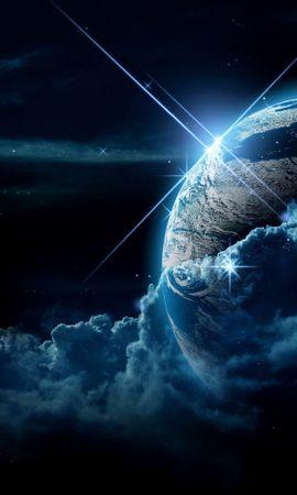 Скачать бесплатно картинку 70471: Планета, Облака, Свет, Звезды, Космос обои на телефон