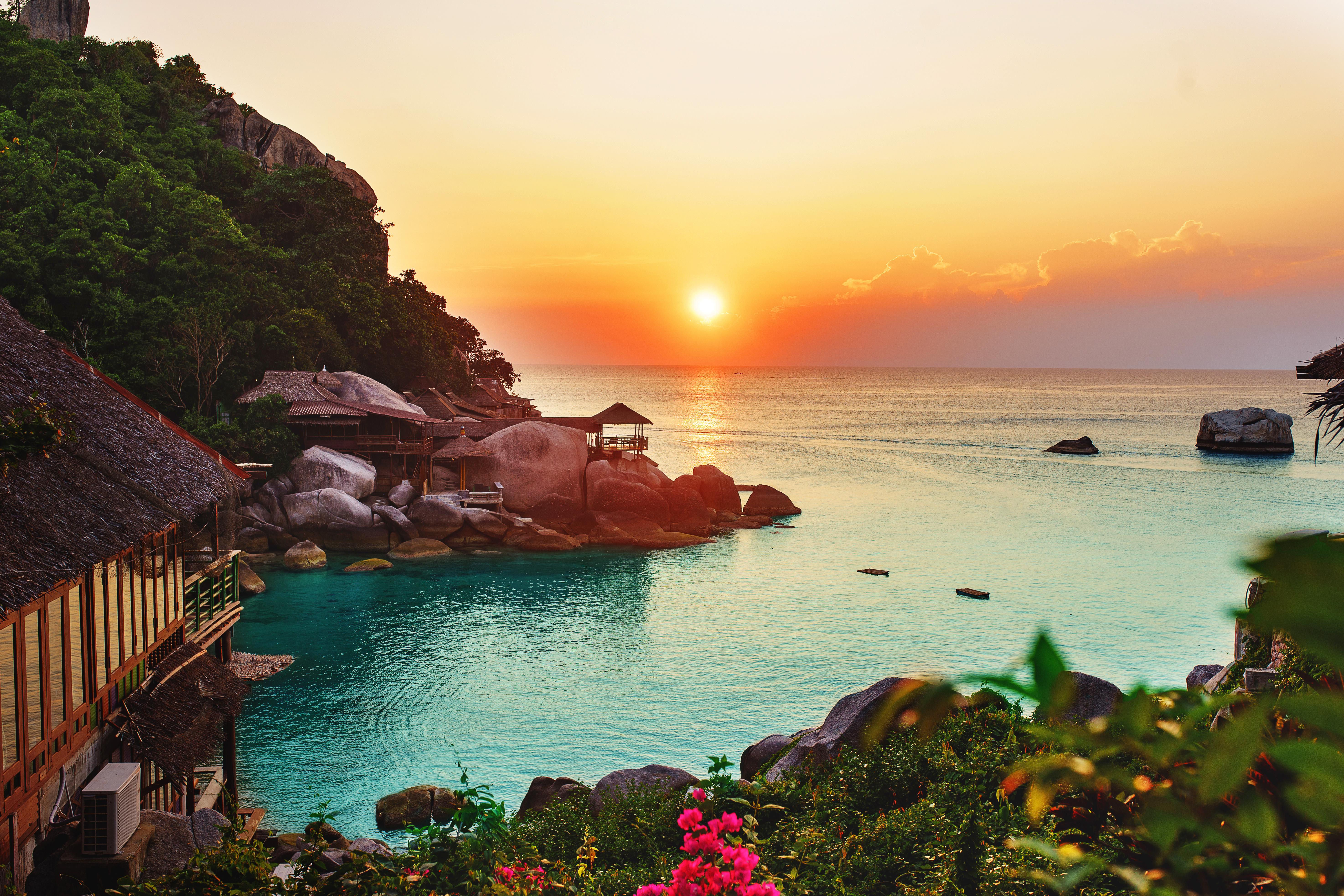 136419 завантажити шпалери Природа, Захід, Пляж, Небокрай, Горизонт, Океан, Рослинність, Рослинності - заставки і картинки безкоштовно