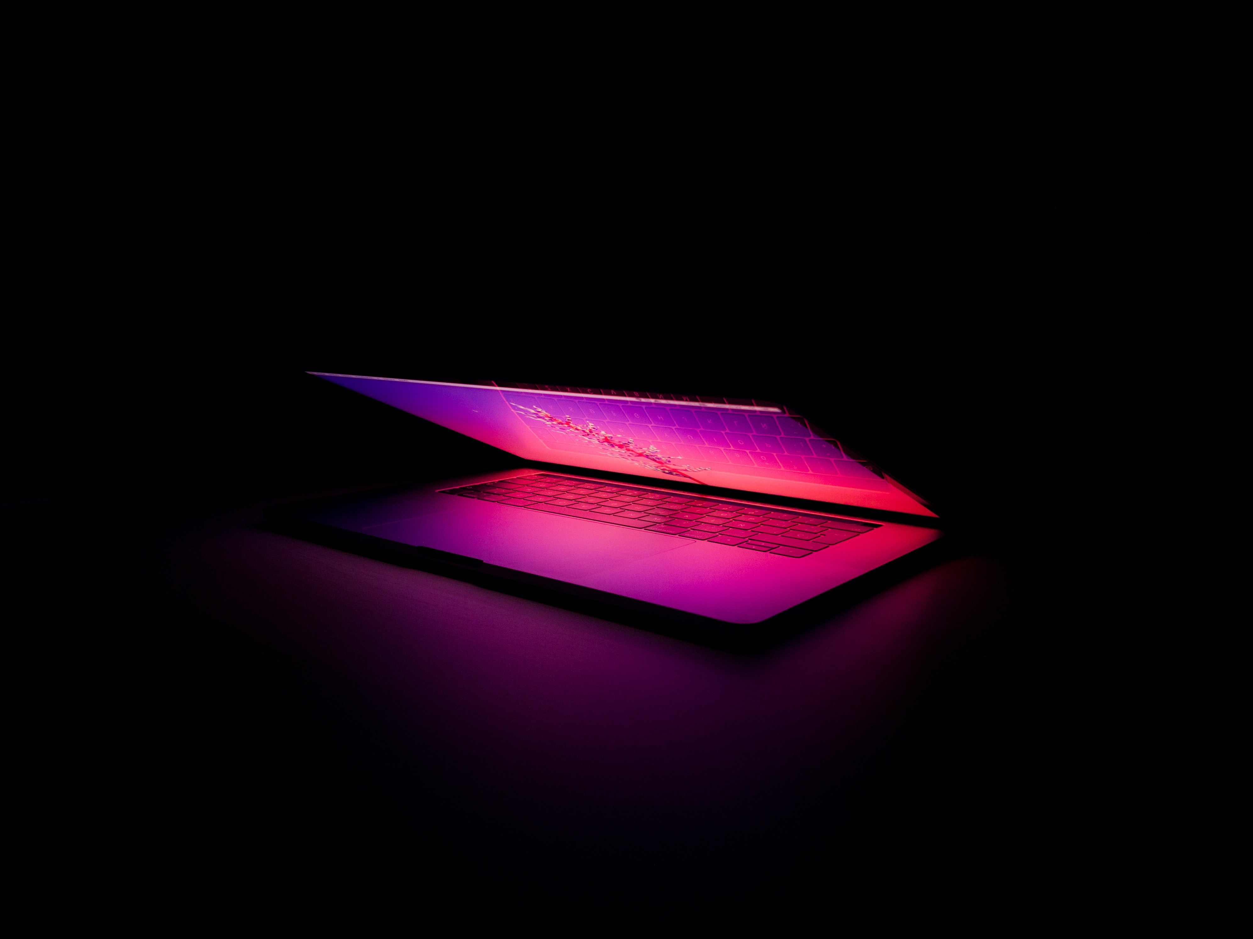121730 download wallpaper Technology, Dark, Technologies, Glow, Keys, Notebook, Laptop screensavers and pictures for free