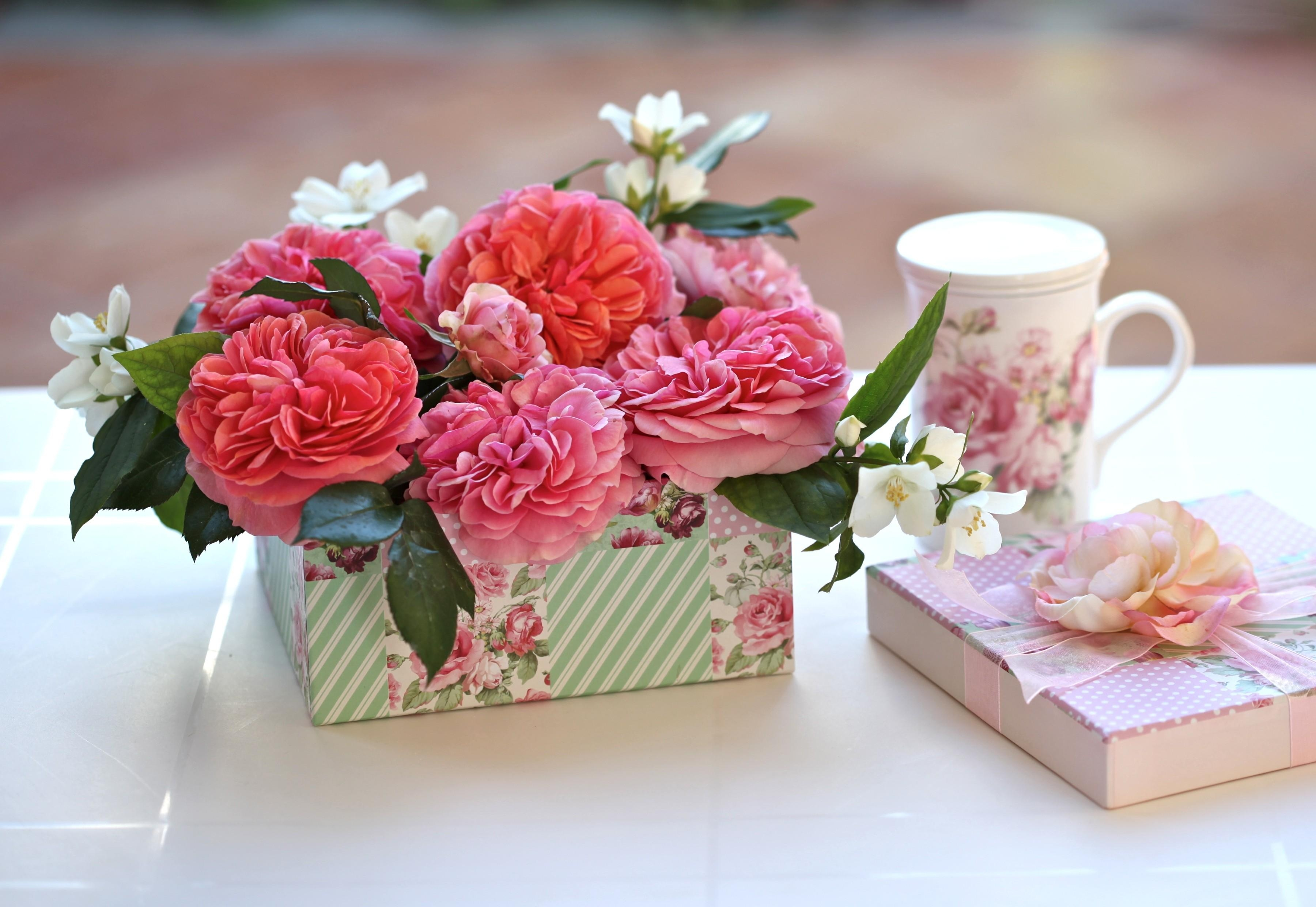 130138 download wallpaper Flowers, Buds, Box, Capsule, Present, Gift, Surprise, Cup, Roses screensavers and pictures for free
