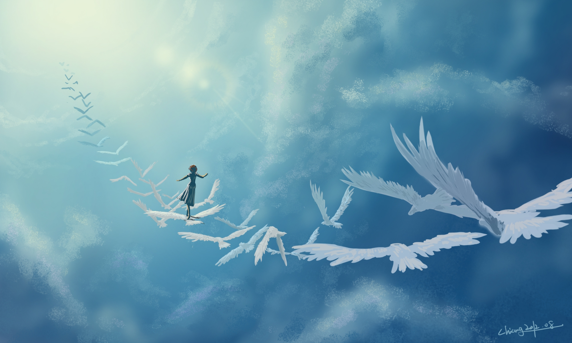 143522 Screensavers and Wallpapers Birds for phone. Download Art, In The Sky, Girl, Fantasy, Clouds, Birds pictures for free