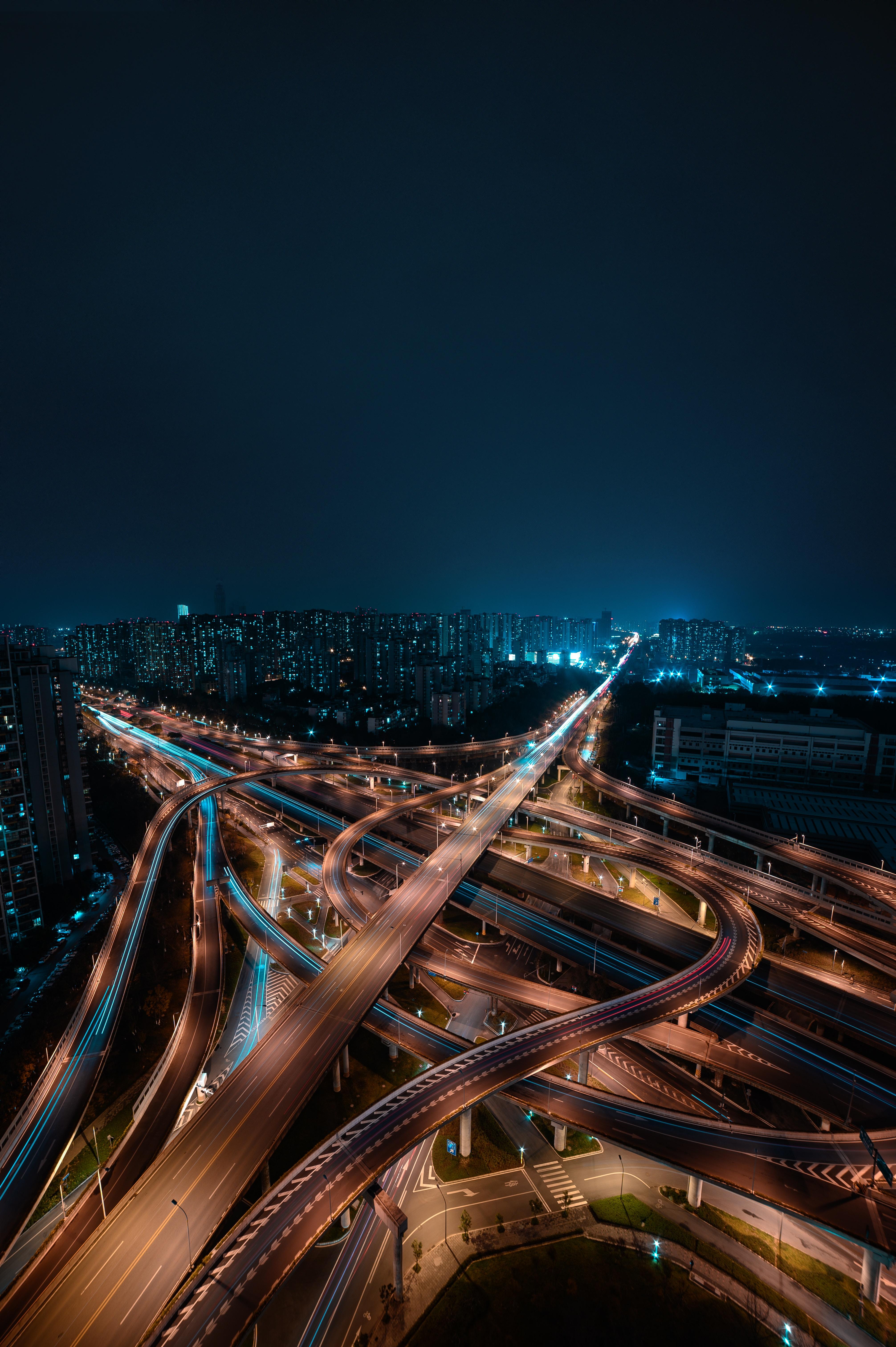 73774 Hintergrundbild herunterladen Roads, Städte, Gebäude, Blick Von Oben, Nächtliche Stadt, Night City, Megapolis, Megalopolis - Bildschirmschoner und Bilder kostenlos