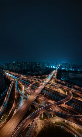 73774 Screensavers and Wallpapers Roads for phone. Download Night City, View From Above, Roads, Building, Megapolis, Megalopolis, Cities pictures for free