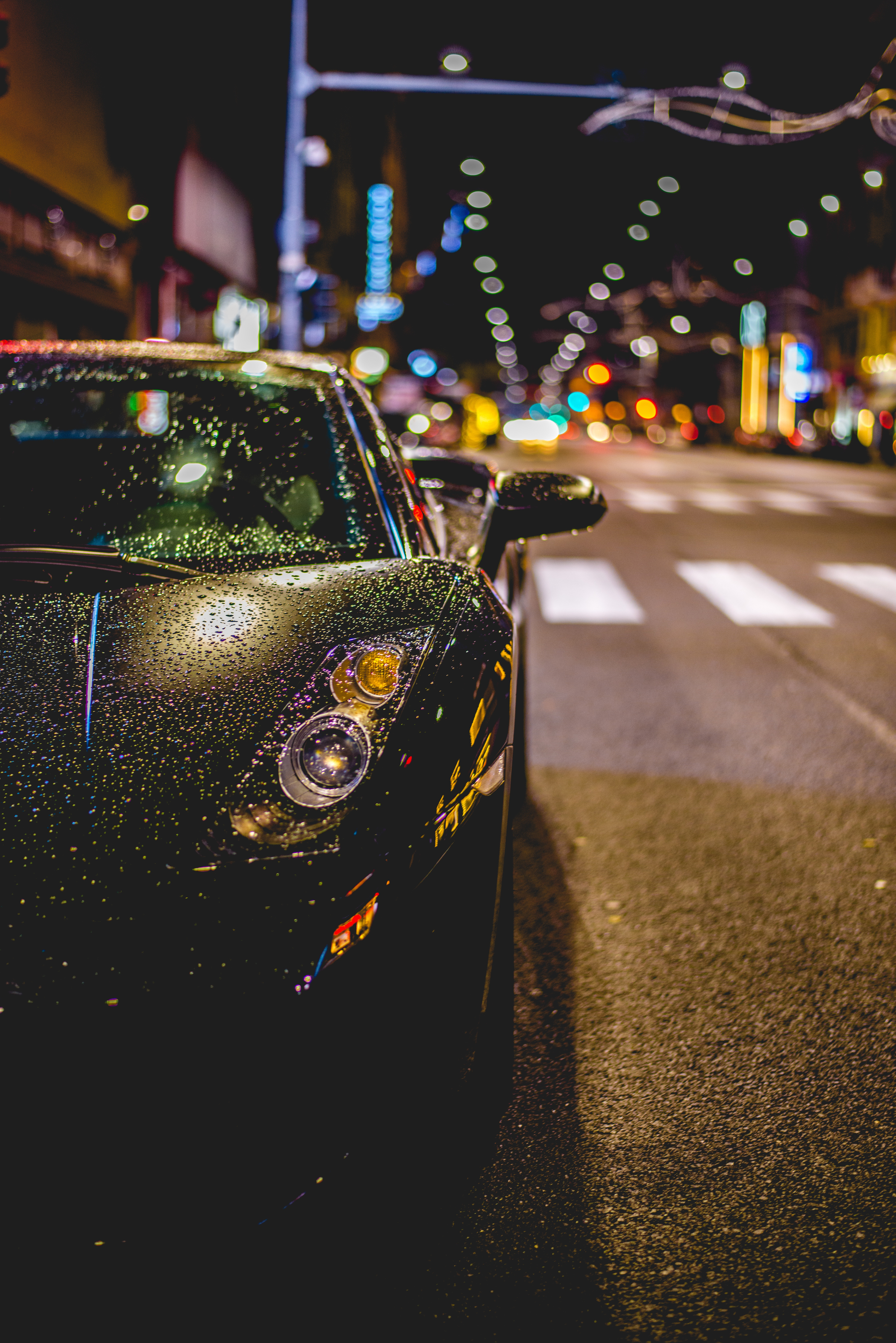 117165 download wallpaper Front View, Auto, Rain, Drops, Cars screensavers and pictures for free