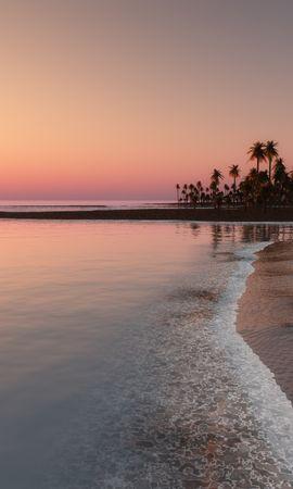77608壁紙のダウンロード自然, 海洋, 大洋, 熱帯, 海岸, 日没, スカイ, パームス-スクリーンセーバーと写真を無料で